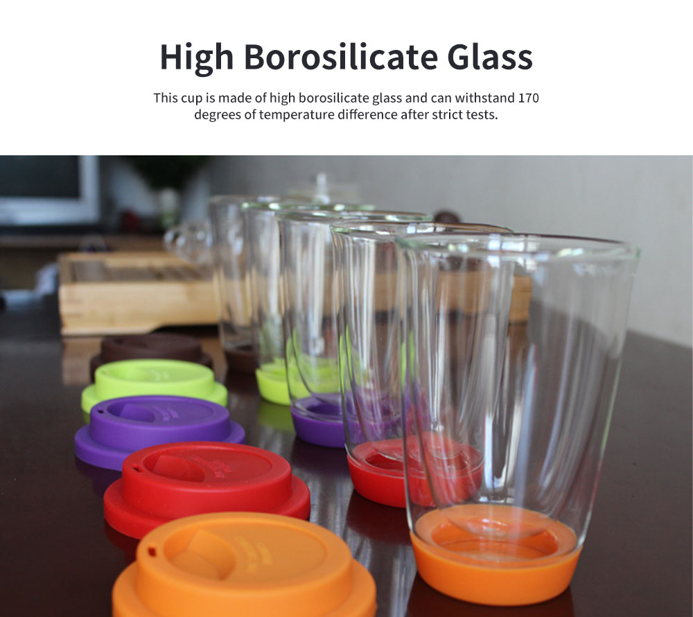 Transparent Glass Thermos Cup Multicolored Heat-resistant Double Walled Insulated Mug Glass Cup with Cover Best Gift 1