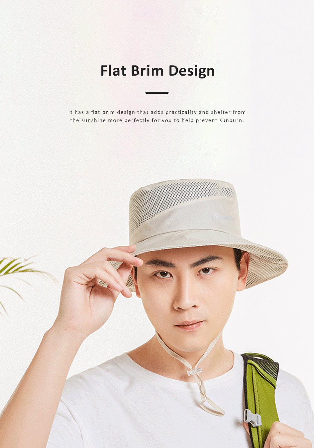 Outdoor Sunhat for Outdoor Enthusiast, Colorful Option Flat Brim Fisherman Hat, Wind Rope Buckle Quick Drying Flat Brim Cap 2