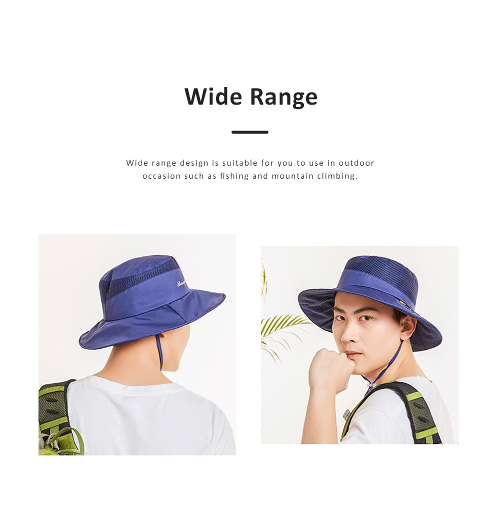 Outdoor Sunhat for Outdoor Enthusiast, Colorful Option Flat Brim Fisherman Hat, Wind Rope Buckle Quick Drying Flat Brim Cap 3