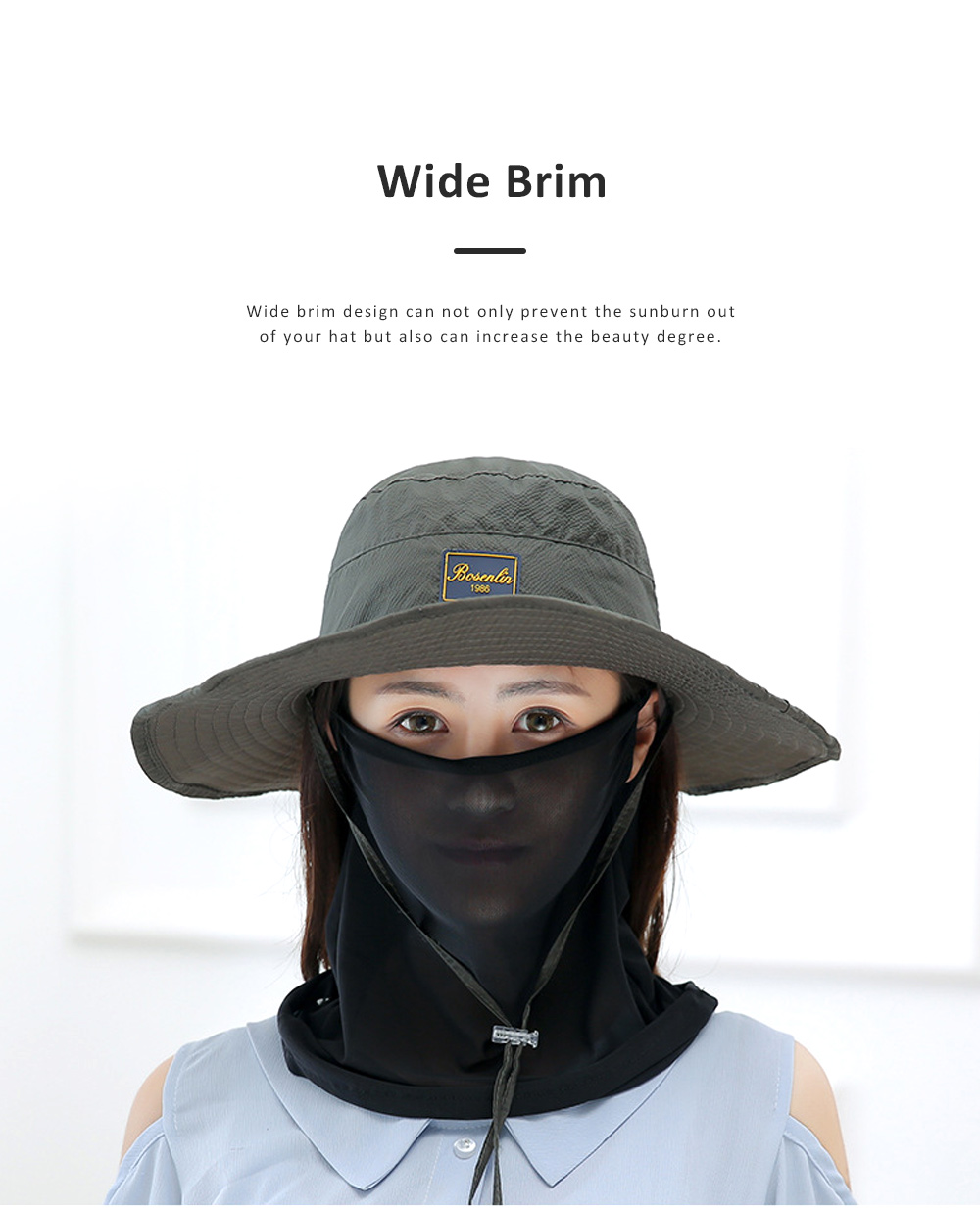 Unisex Sunscreen Hat for Outdoor Enthusiast, Mesh Breathable Mask Brand Logo Alpine Cap For Men Women Wide Brim Adjustable Wind Rope Outdoor Appliances 5