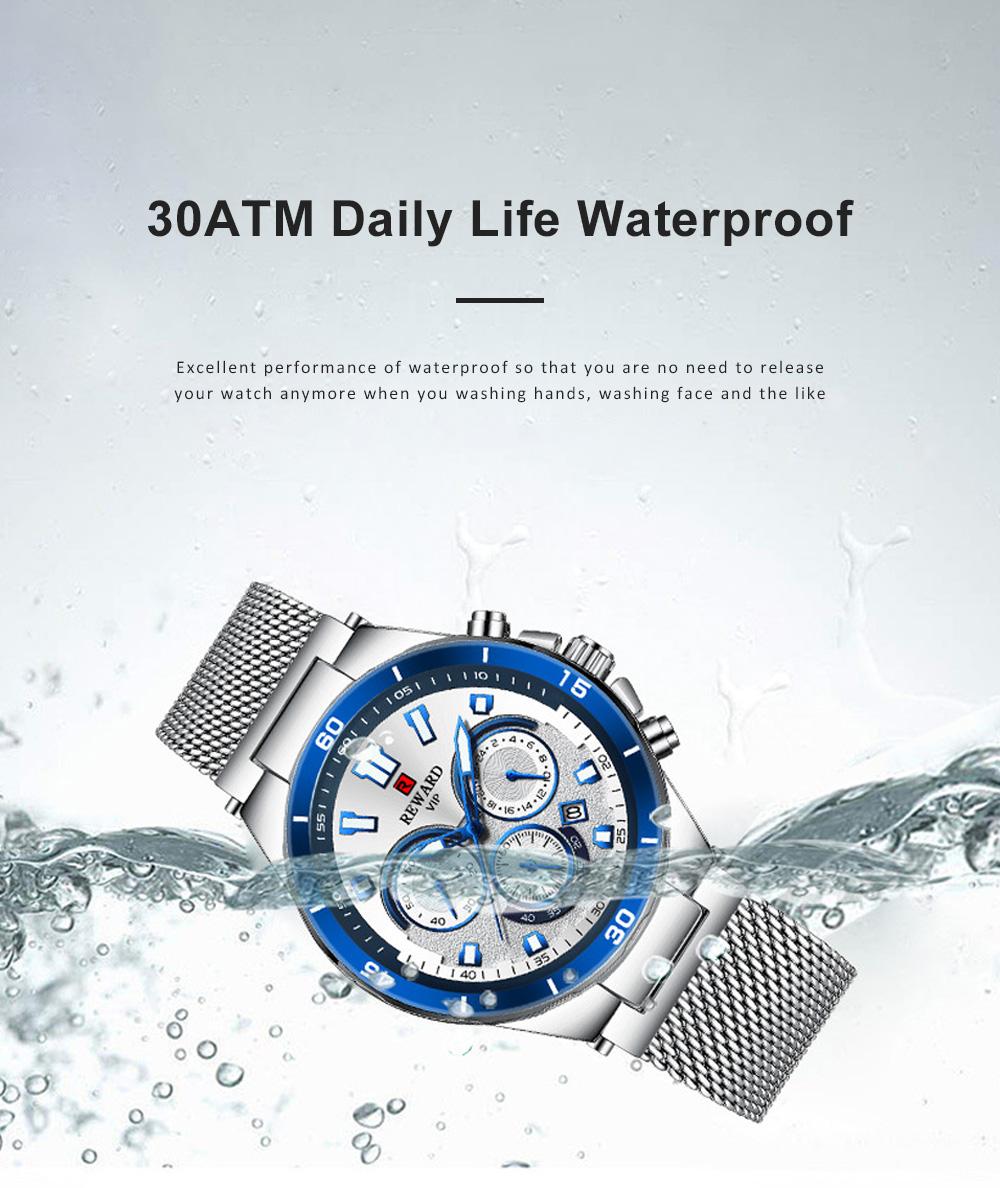3 Dials Sports Quartz Watch with Adjustable Stainless Steel Watchband, Waterproof Fashion Accessories Wrist Watch for Men 3