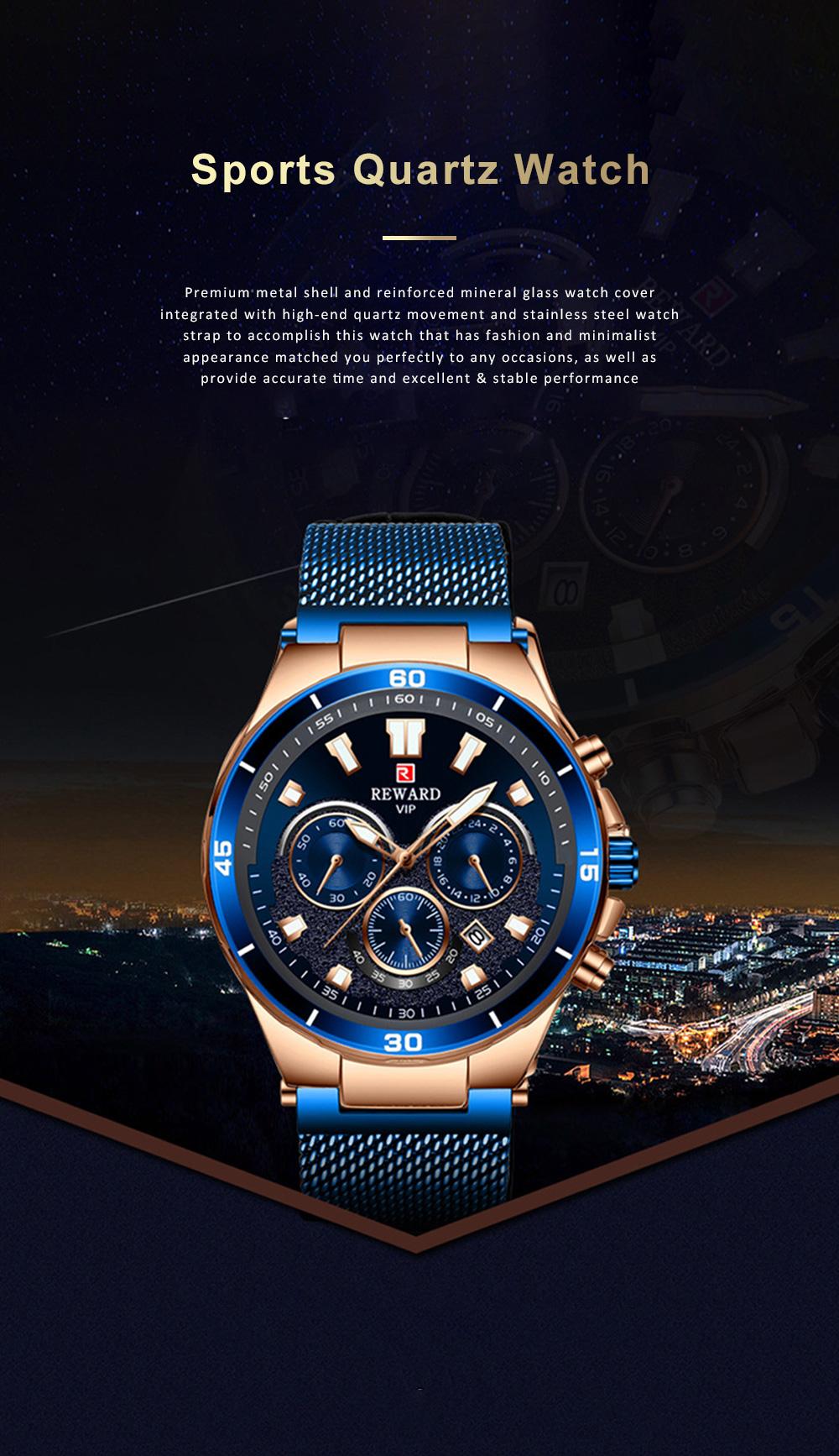 3 Dials Sports Quartz Watch with Adjustable Stainless Steel Watchband, Waterproof Fashion Accessories Wrist Watch for Men 0