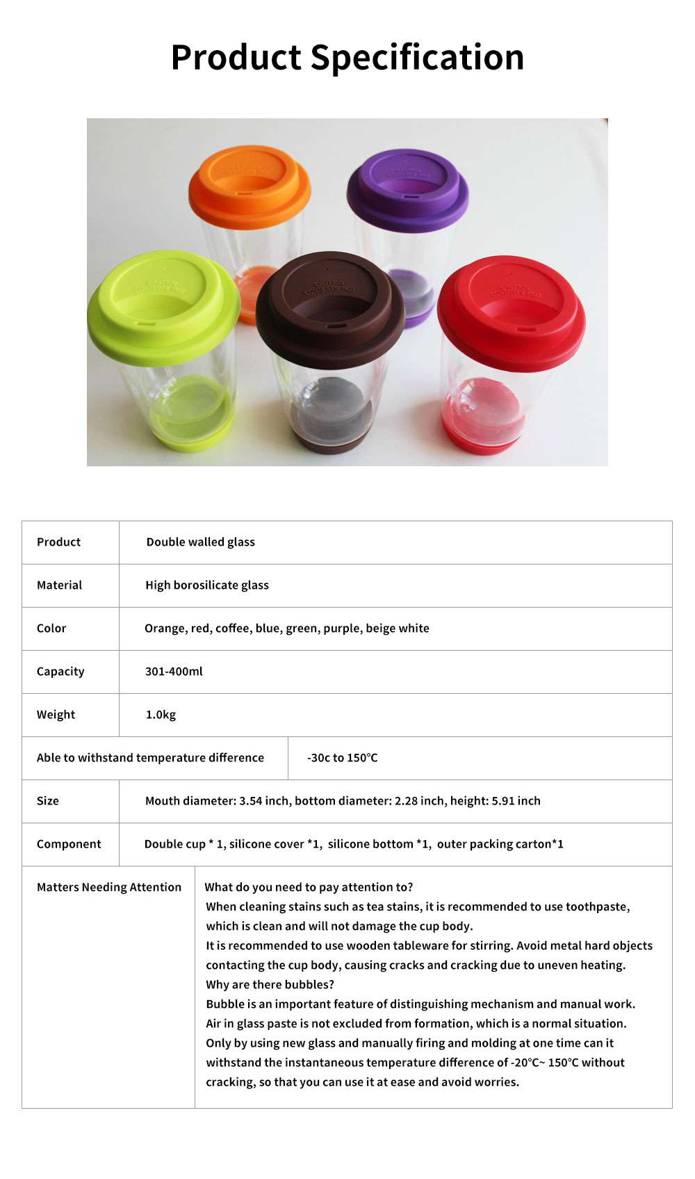 Transparent Glass Thermos Cup Multicolored Heat-resistant Double Walled Insulated Mug Glass Cup with Cover Best Gift 6