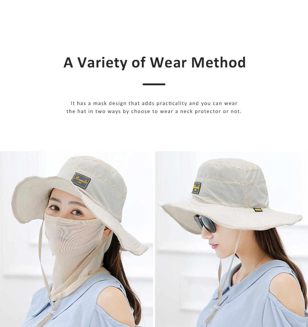 Unisex Sunscreen Hat for Outdoor Enthusiast, Mesh Breathable Mask Brand Logo Alpine Cap For Men Women Wide Brim Adjustable Wind Rope Outdoor Appliances 2