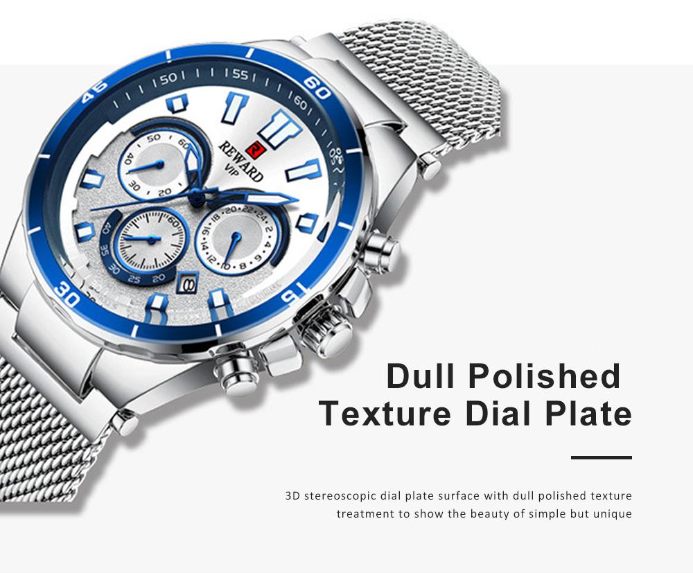 3 Dials Sports Quartz Watch with Adjustable Stainless Steel Watchband, Waterproof Fashion Accessories Wrist Watch for Men 2