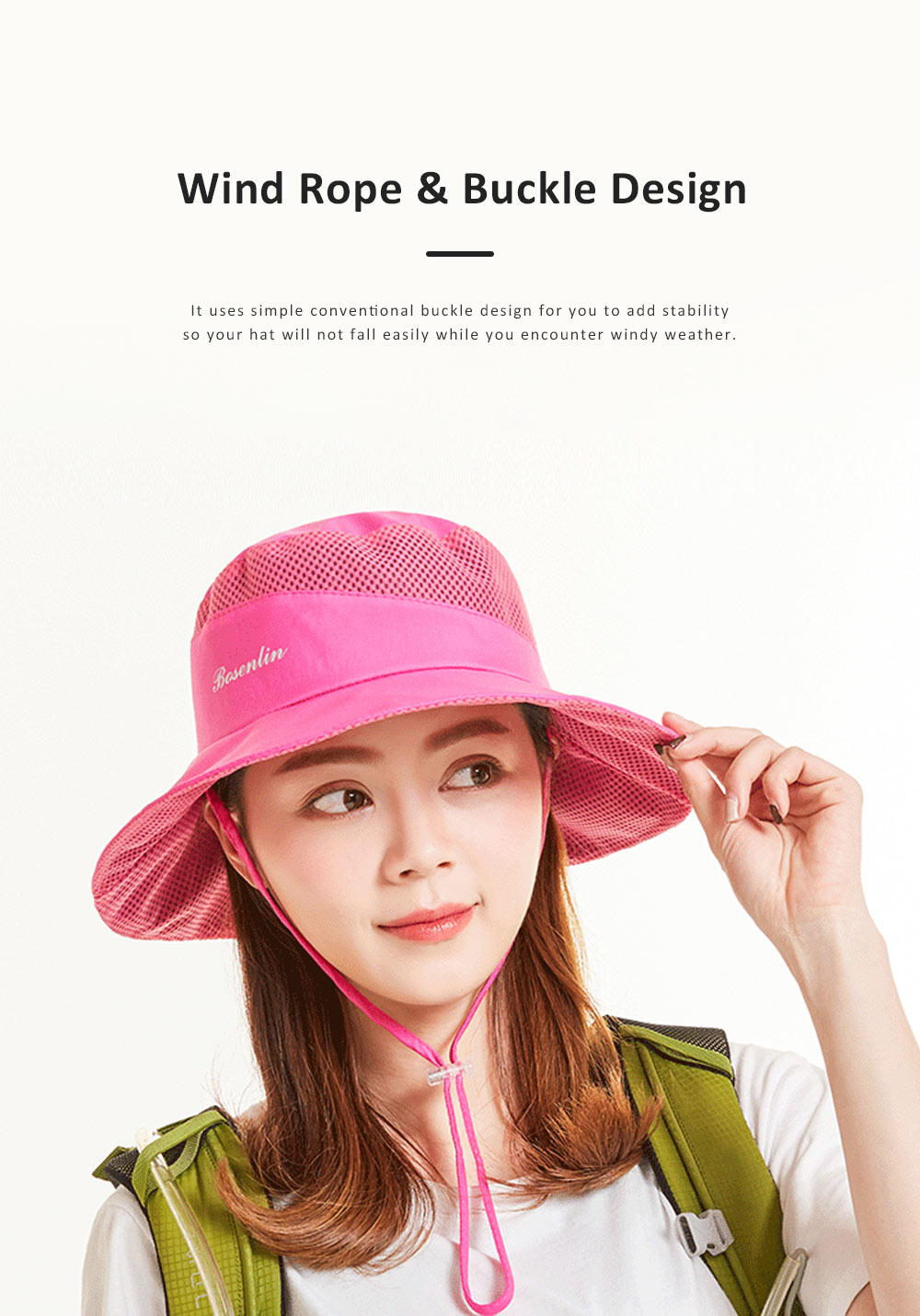 Outdoor Sunhat for Outdoor Enthusiast, Colorful Option Flat Brim Fisherman Hat, Wind Rope Buckle Quick Drying Flat Brim Cap 4