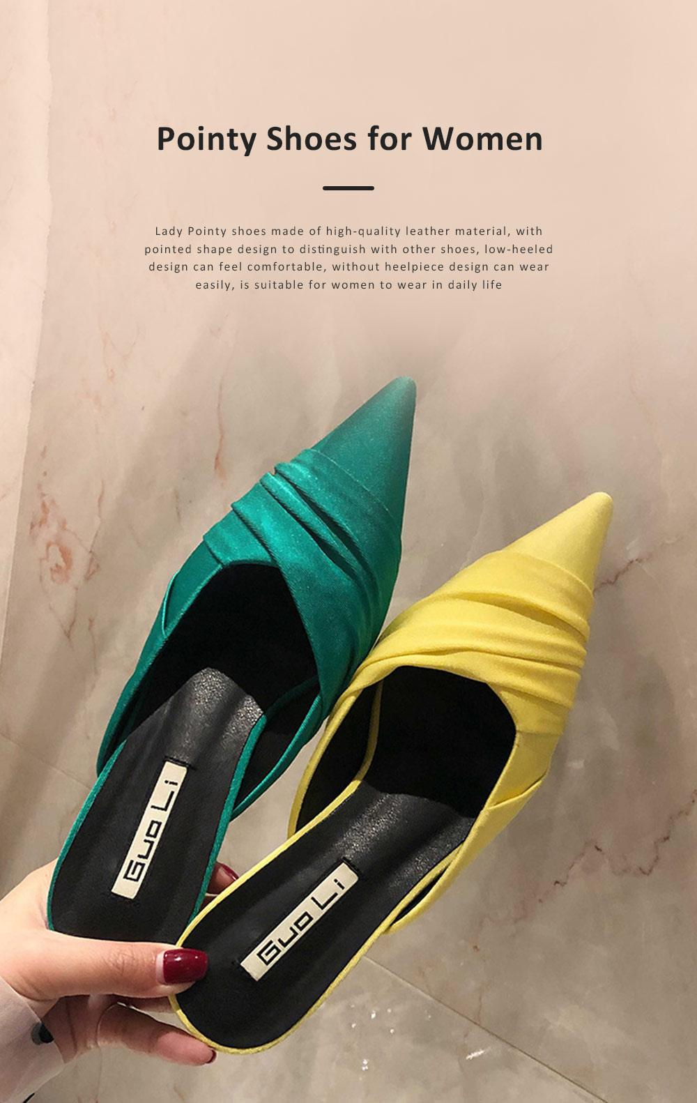 Pointy Shoes for Women, Low-heeled Waterproof Platform Sandals, Leather Material without Heelpiece Slippers 0