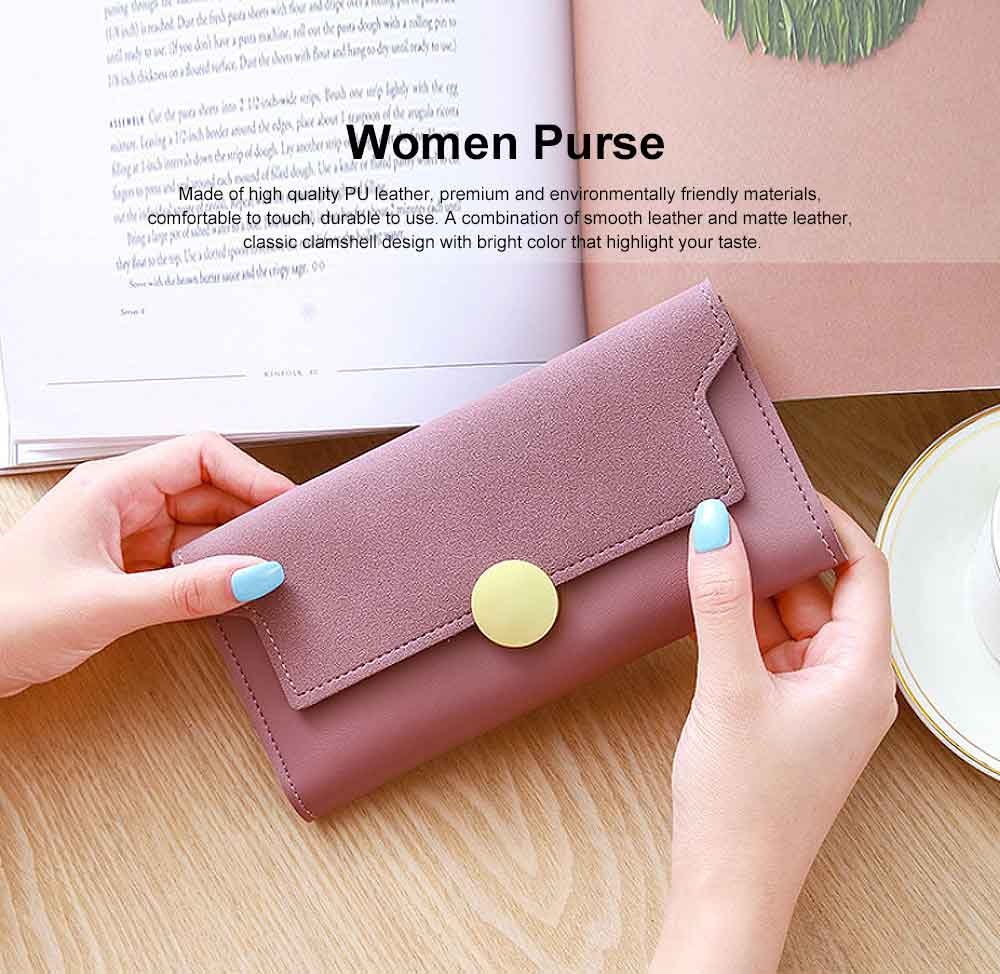 Lady Purse Retro Matte Ladies PU Leather Wallets Women Fashion Long Travel Clamshell Purse Clutch 0