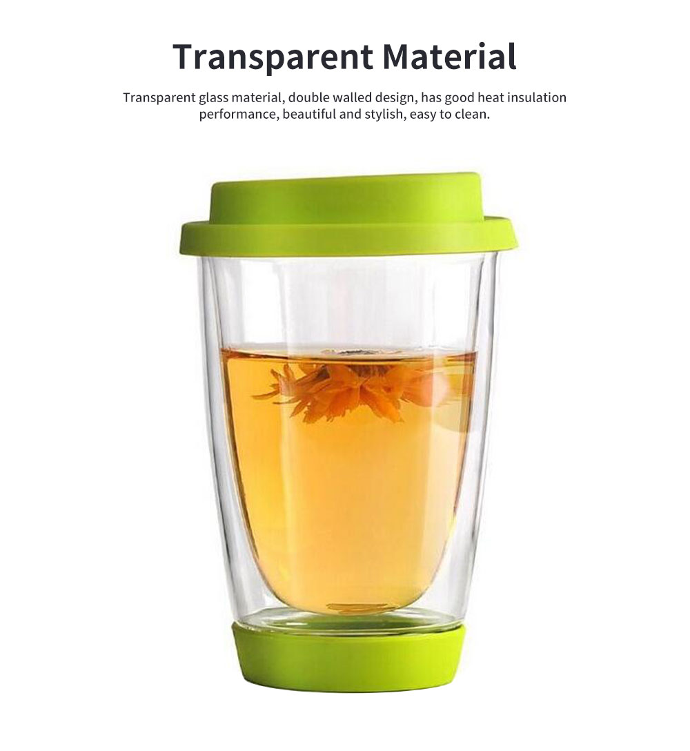 Transparent Glass Thermos Cup Multicolored Heat-resistant Double Walled Insulated Mug Glass Cup with Cover Best Gift 2
