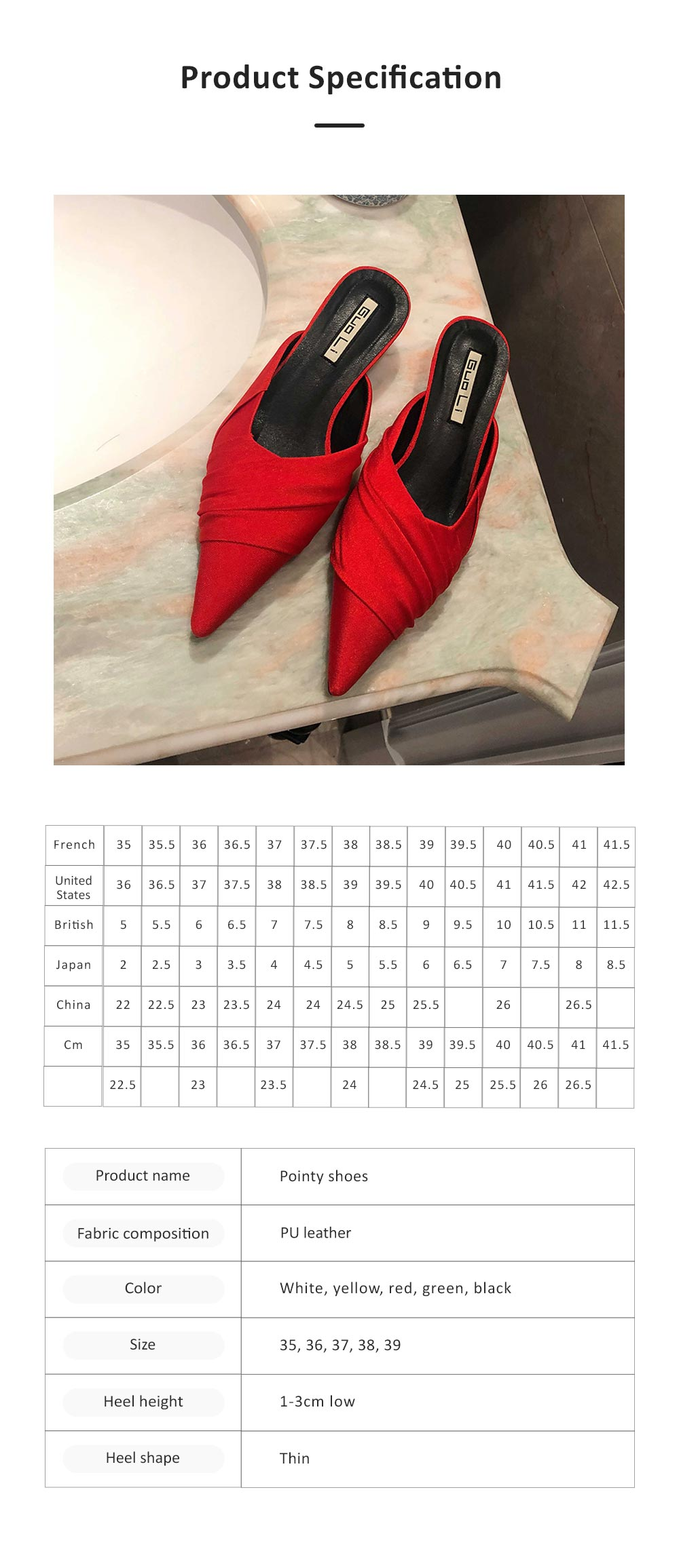 Pointy Shoes for Women, Low-heeled Waterproof Platform Sandals, Leather Material without Heelpiece Slippers 6