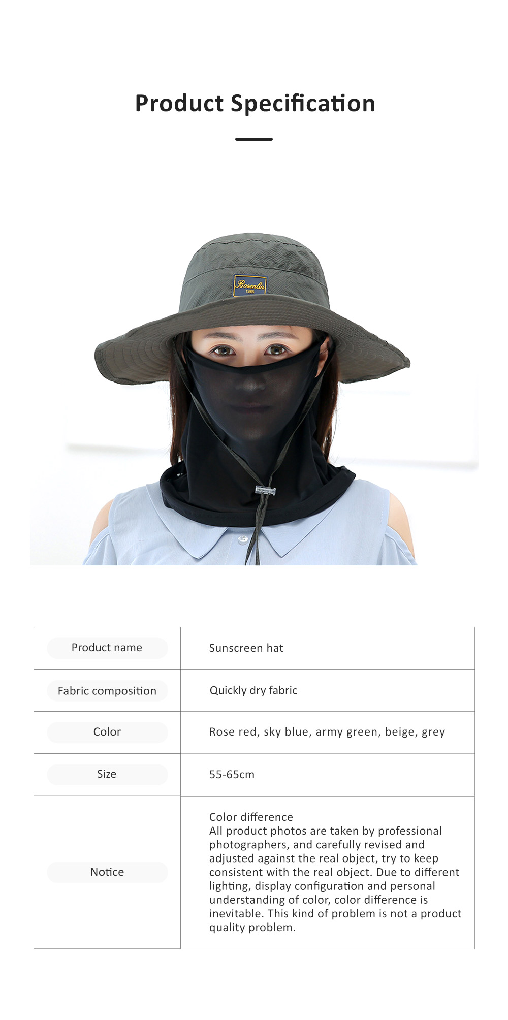 Unisex Sunscreen Hat for Outdoor Enthusiast, Mesh Breathable Mask Brand Logo Alpine Cap For Men Women Wide Brim Adjustable Wind Rope Outdoor Appliances 7