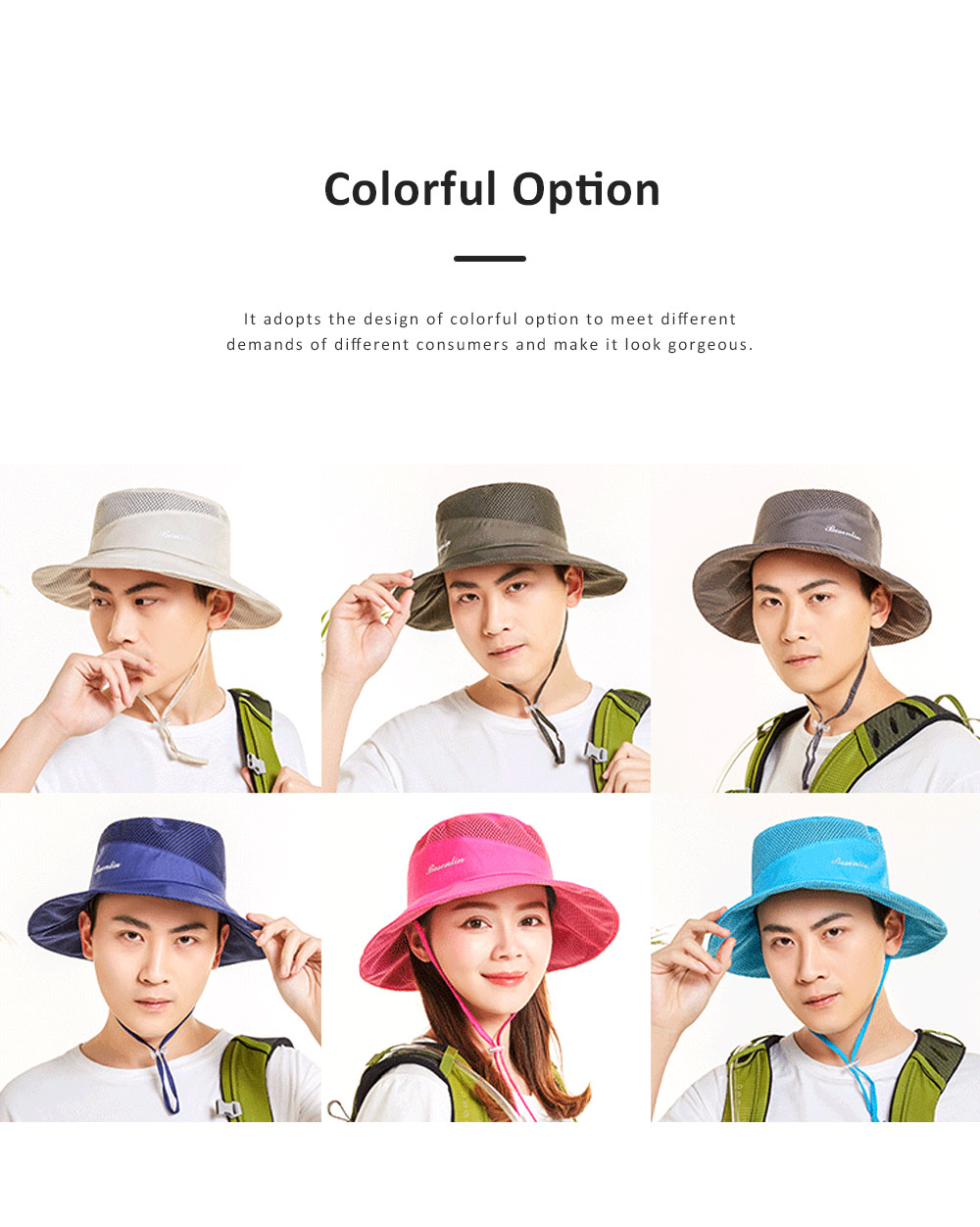 Outdoor Sunhat for Outdoor Enthusiast, Colorful Option Flat Brim Fisherman Hat, Wind Rope Buckle Quick Drying Flat Brim Cap 1