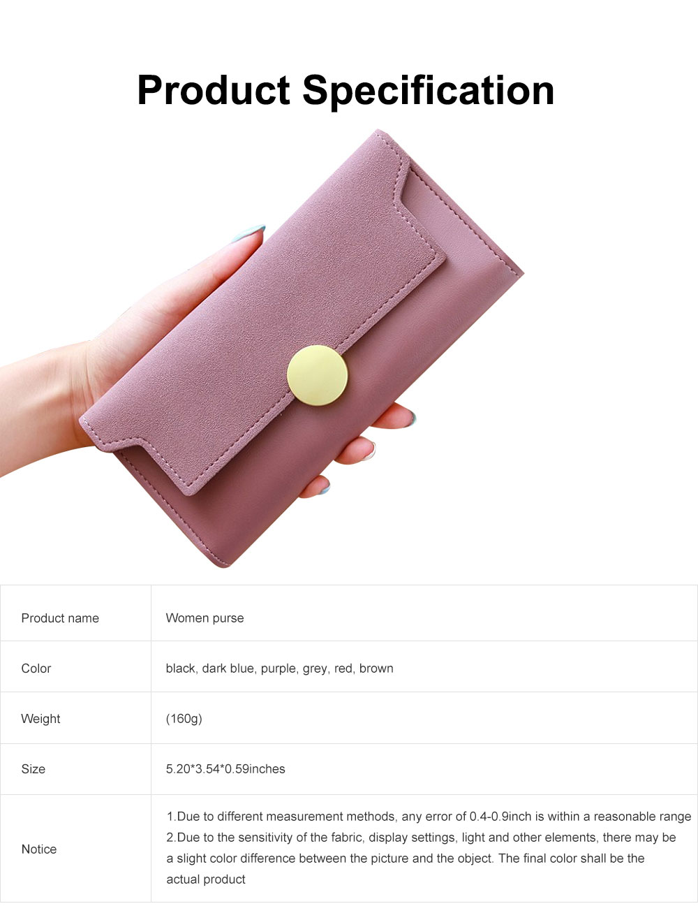Lady Purse Retro Matte Ladies PU Leather Wallets Women Fashion Long Travel Clamshell Purse Clutch 6
