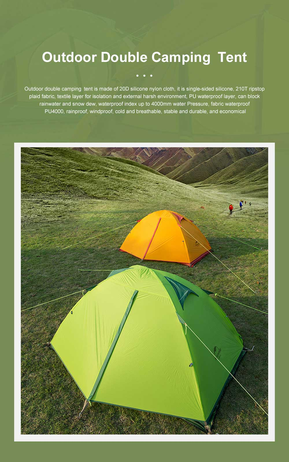 Light Weight Mountaining Rain Storm 20D Waterproof Backpacking Tent Silicone Double Layer Outdoor Ultralight Camping Tent 0