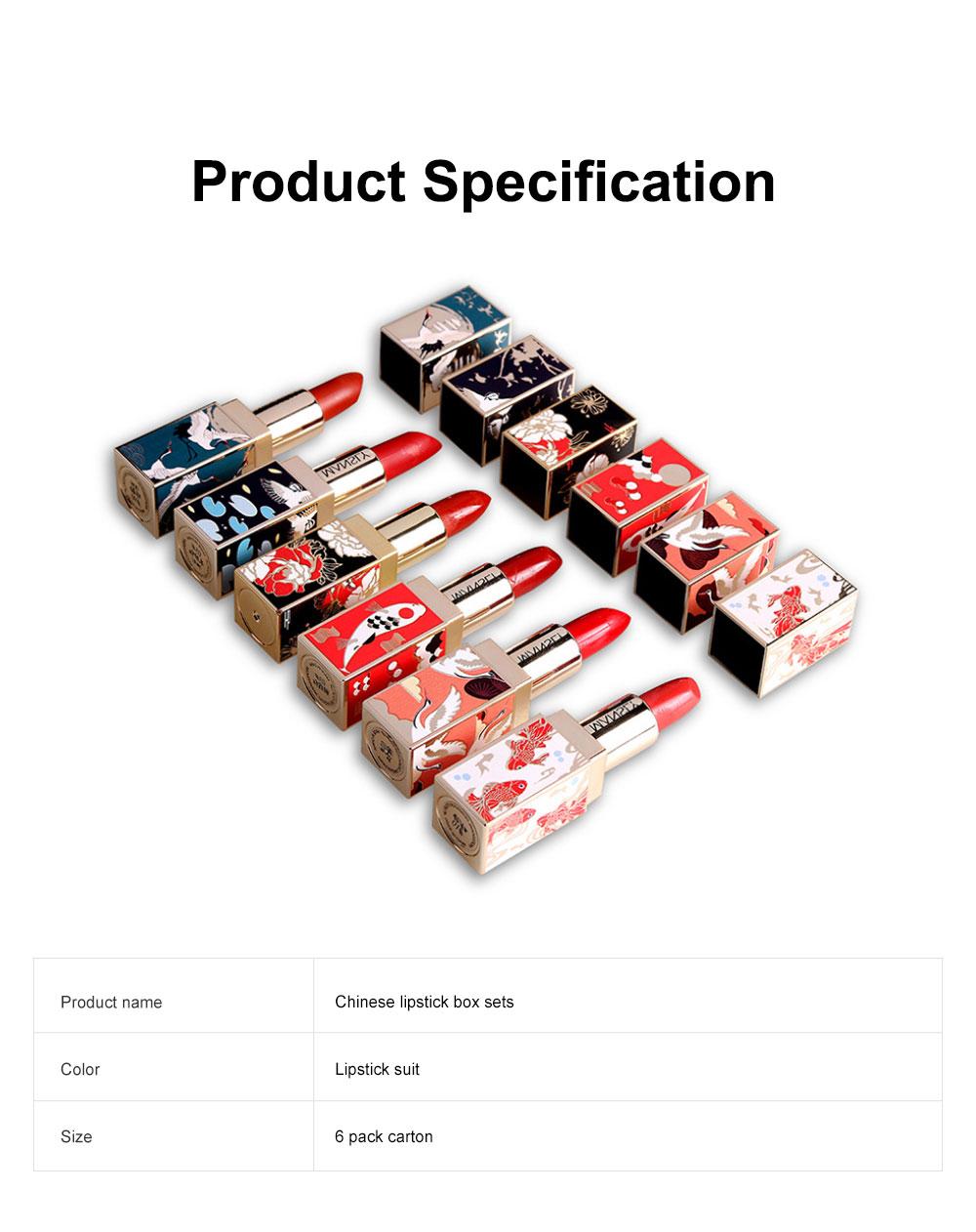 Chinese Palace Classic Style Non-stick Matte Makeup Lip Gloss Waterproof Long Lasting Private Label Lipstick Box Sets 7