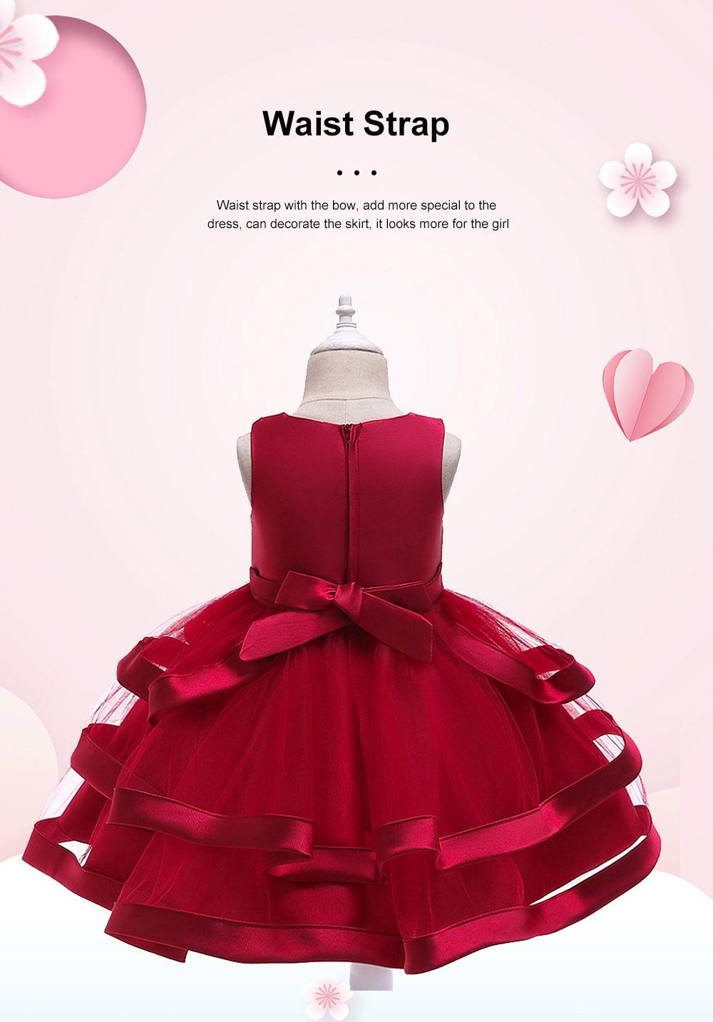 Female Flower Skirts Kids Girls Flower Wedding Dress, Multi-layer Mesh Gauze skirt, Multi-layered Show Dress Party Suit 2