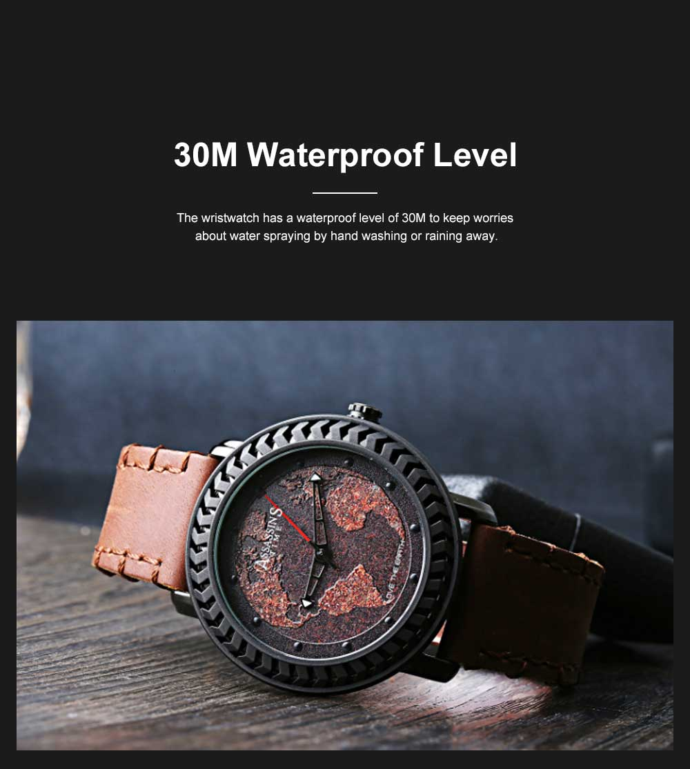 Casual Genuine Leather Unisex Wristwatch with Japan-imported Quartz Movement Waterproof Alloy Made Watchcase Men's Wrist Watch 4