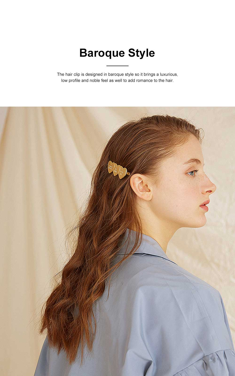 Baroque Hair Clip for Girls Gold-plated Alloy Bobby Pin Baroque Hair Dresses Retro I-shape Hairpin Star-like Side Clip 2