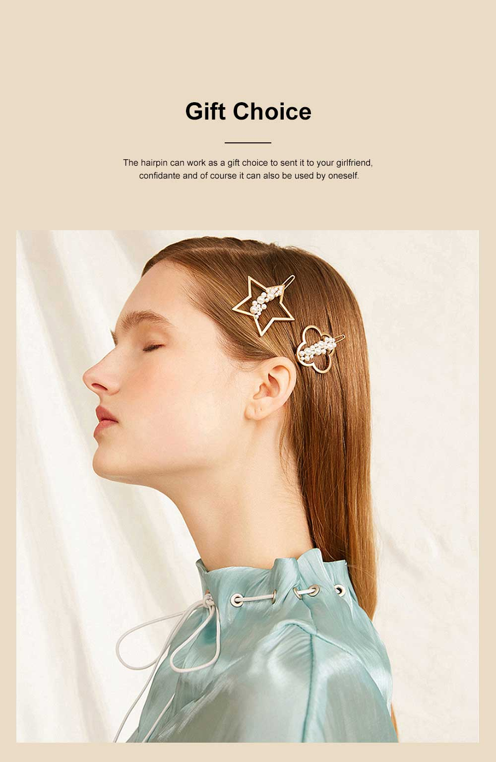 Creative Shape Hairpin Imitated Pearl Alloy Glossy Hair Grip for Girls Gold-plated Hair Accessories Starry Tuck Comb Side Hair Clip 2020 2