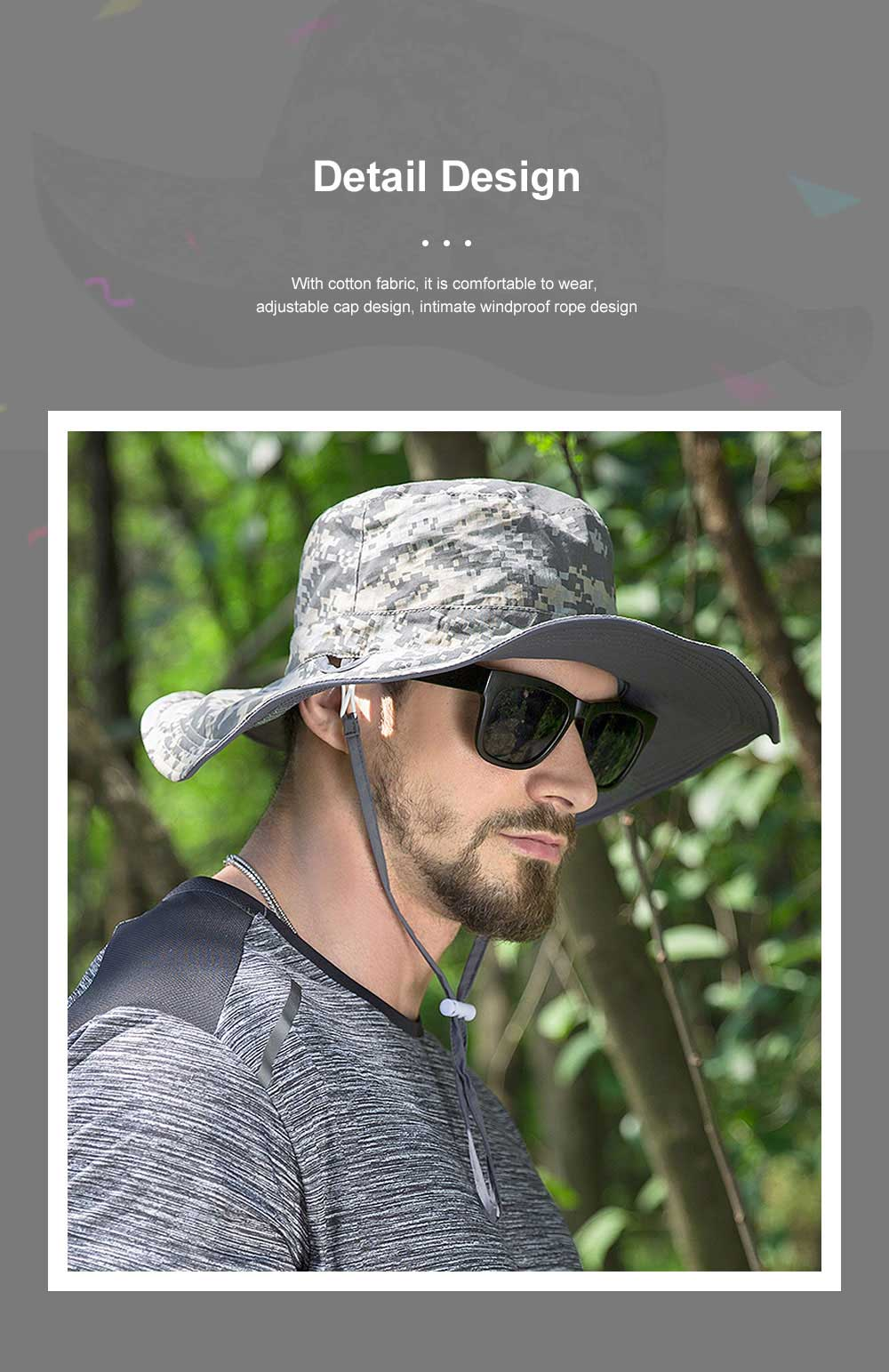 Male Sun Hat Sunscreen Summer Travel Seaside Big Edge Leisure Folding Windproof Sunshade Riding Mountaineering Hat 2