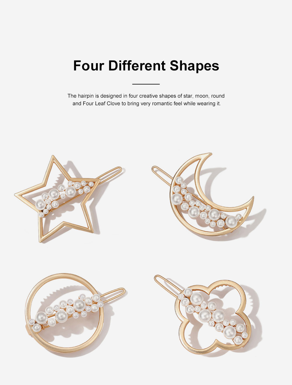 Creative Shape Hairpin Imitated Pearl Alloy Glossy Hair Grip for Girls Gold-plated Hair Accessories Starry Tuck Comb Side Hair Clip 2020 5