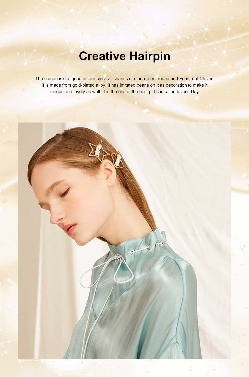 Creative Shape Hairpin Imitated Pearl Alloy Glossy Hair Grip for Girls Gold-plated Hair Accessories Starry Tuck Comb Side Hair Clip 2020 0