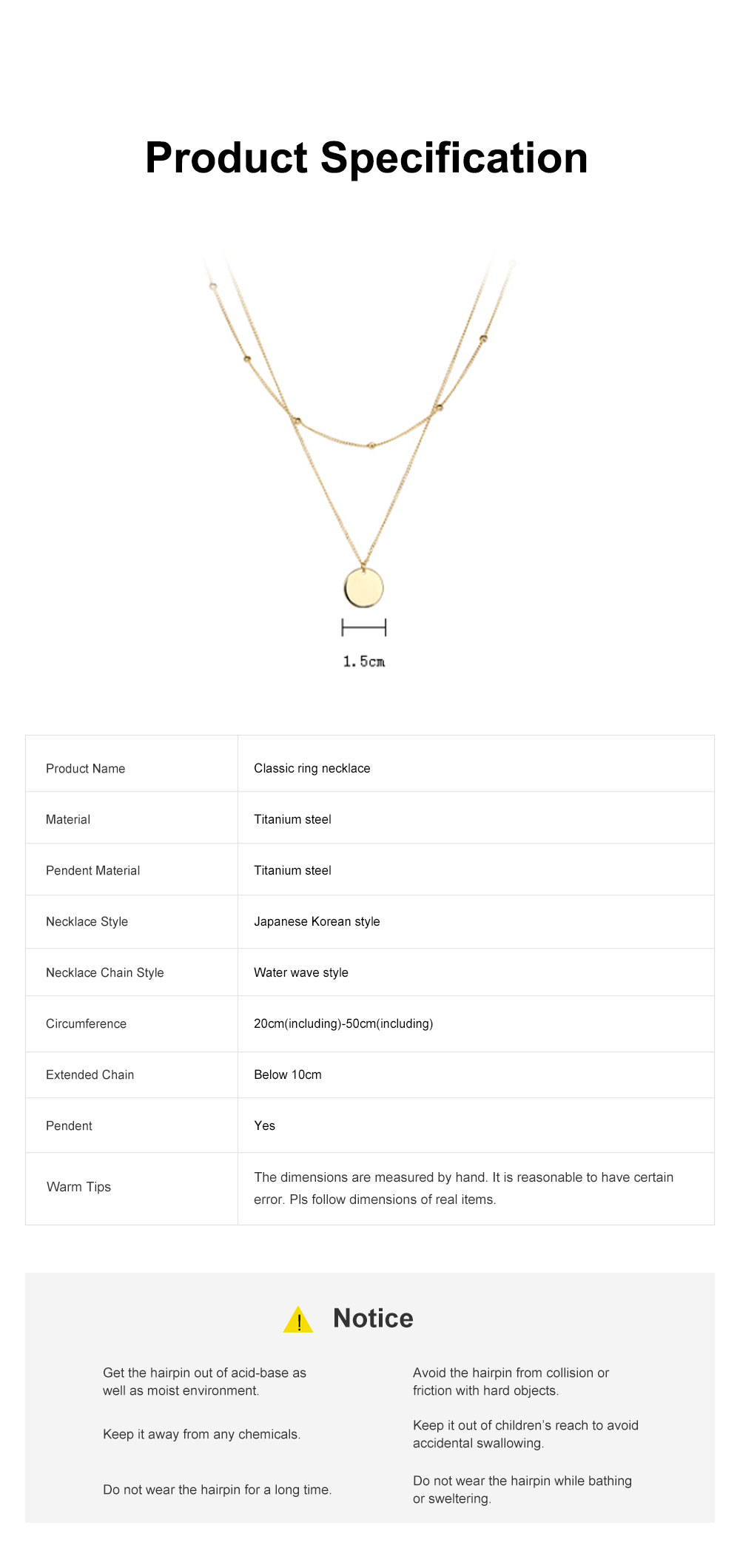 Fashionable Ring Necklace with Coin-like Pendent for Girls Simple Double Water Wave Clavicle Amulet Necklace Jewelry All-match Necklace 8