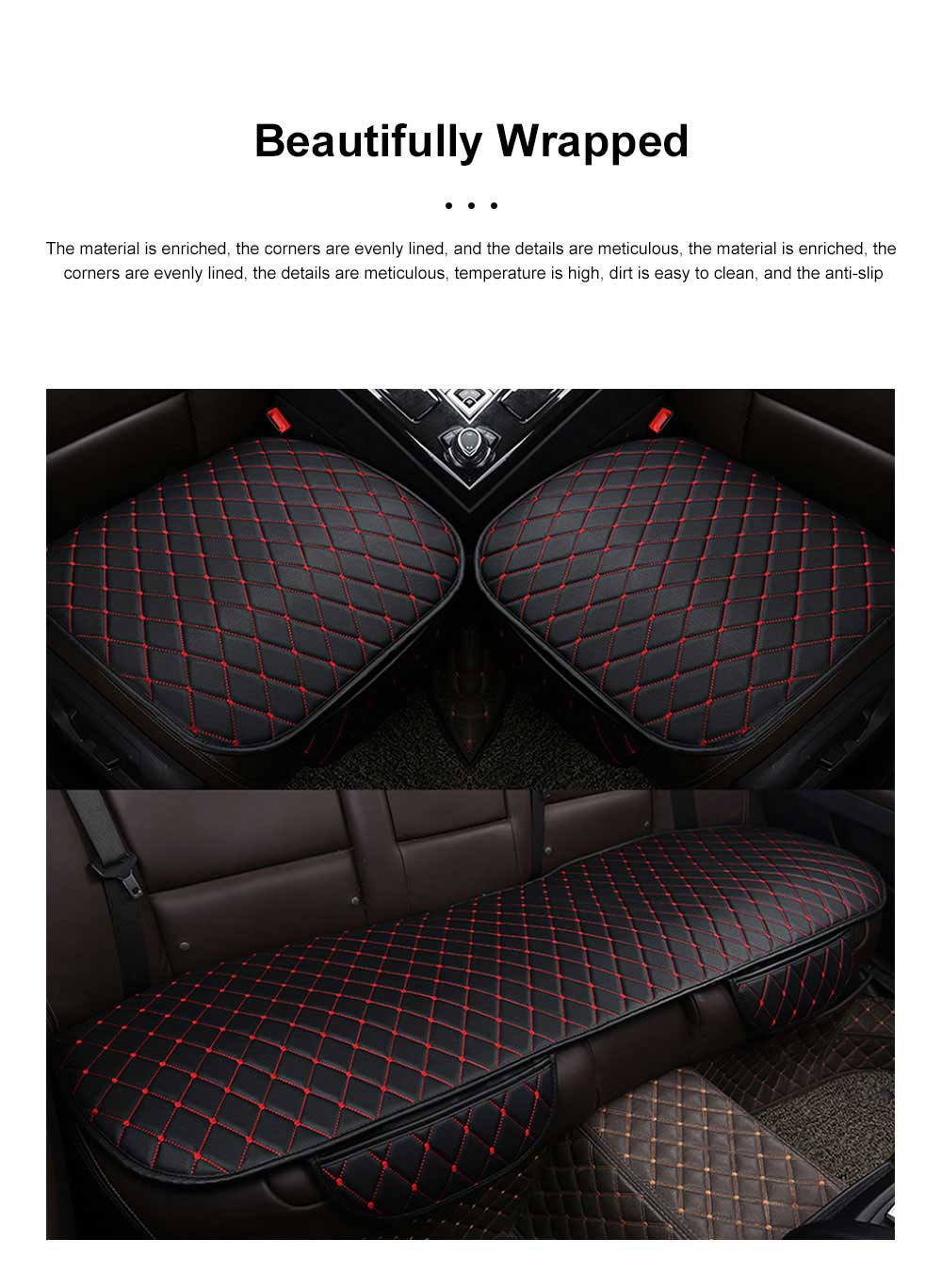Tie-free Car Seat Cushion Four Seasons Universal Without Backrest Three-piece Black And Red Line Diamond-Shaped Sewing Sewn Single Cushion Cover 1