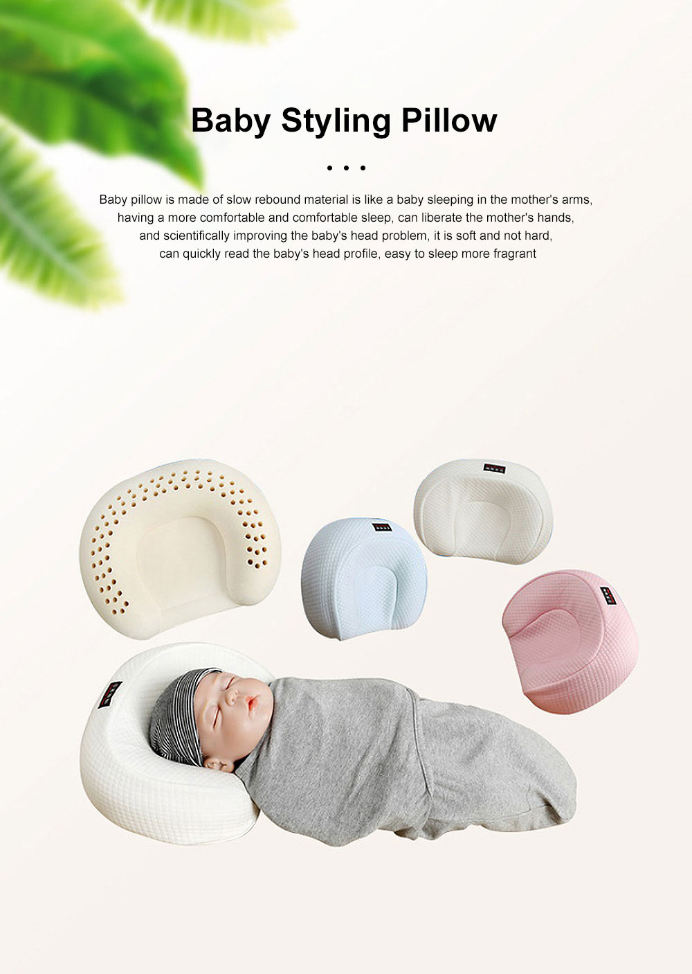 Positioning Organic Anti Roll Infant Sleep Toddler Pillows Flat Head Shaping Newborn Memory Foam Baby Pillow With Cover 0