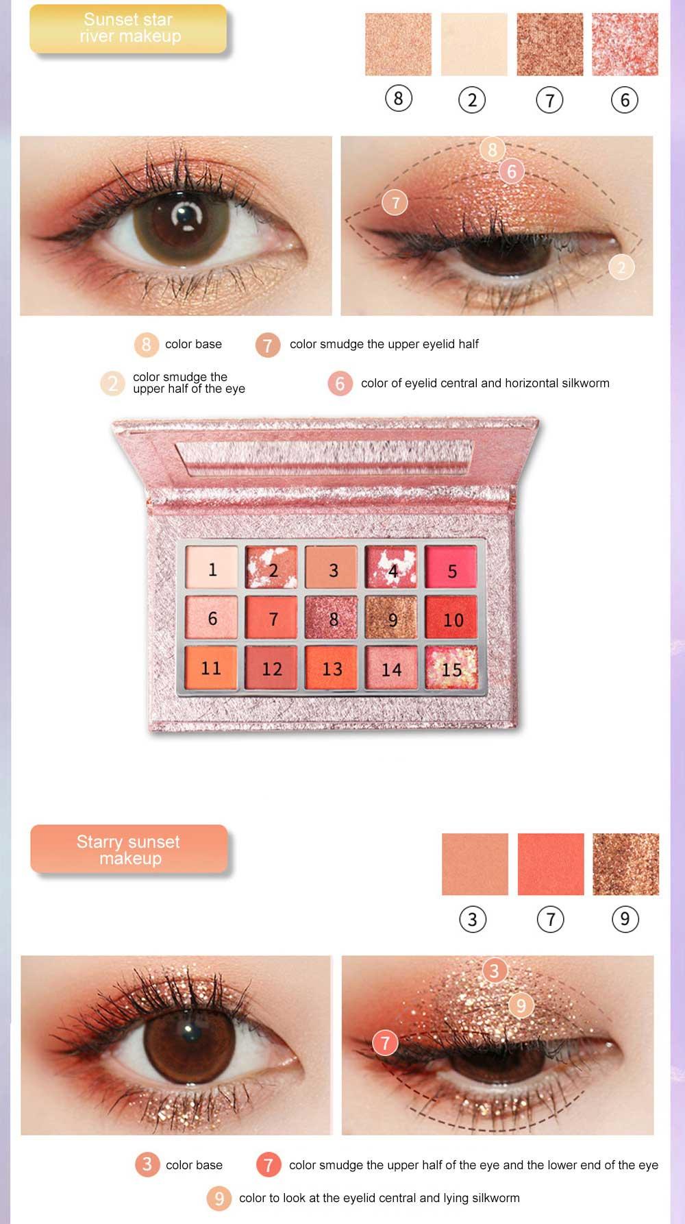 Cosmetics Makeup 15 Color Glitter Eyeshadow Waterproof Easy Clean Palette Eye Shadow Make Up Palettes 6