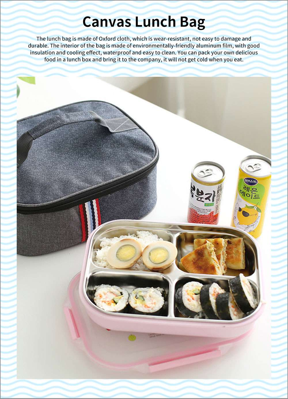 Canvas Lunch Bag Stainless Steel Plastic Heat Preservation Compartments Large Middle Small Size Lunch Box Bag for Student 0