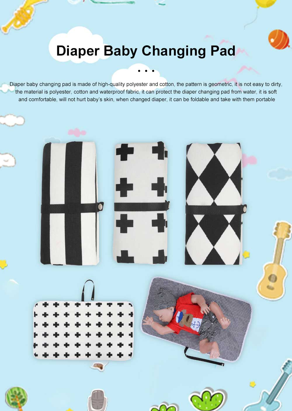 Portable Waterproof Cotton Geometric Travel Foldable Diaper Baby Changing Mat Baby Diaper Changing Pad For Traveling 0