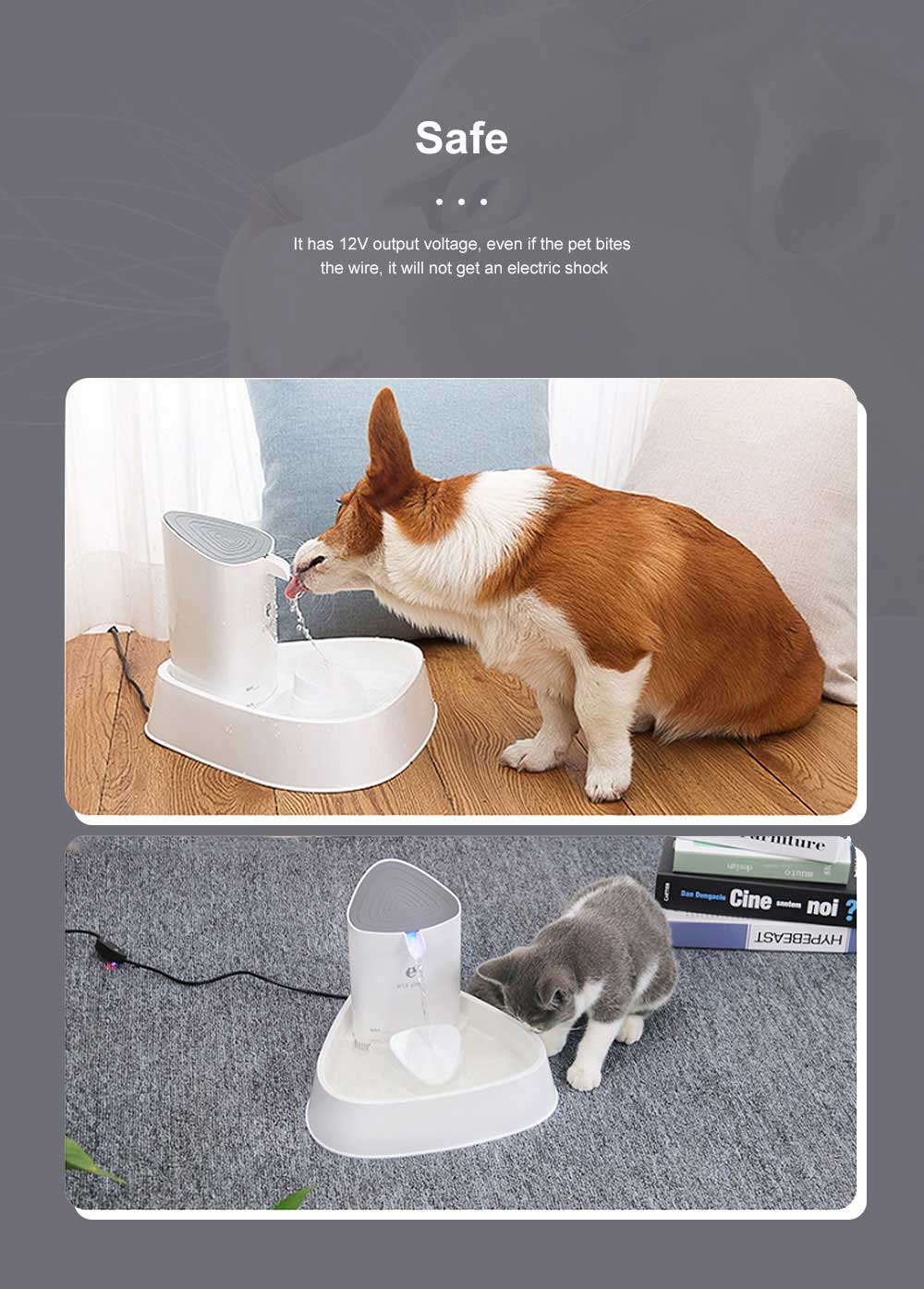 1.8L Fashion Generous Cat Dog Electric Drinker Loop Silent Water Dispenser Mute Four Filter Pet Smart Shell Drinker 3