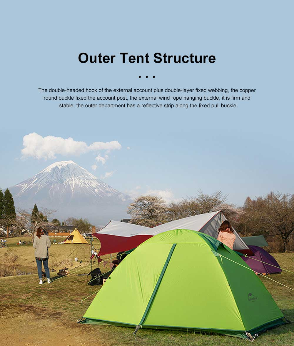 Light Weight Mountaining Rain Storm 20D Waterproof Backpacking Tent Silicone Double Layer Outdoor Ultralight Camping Tent 3