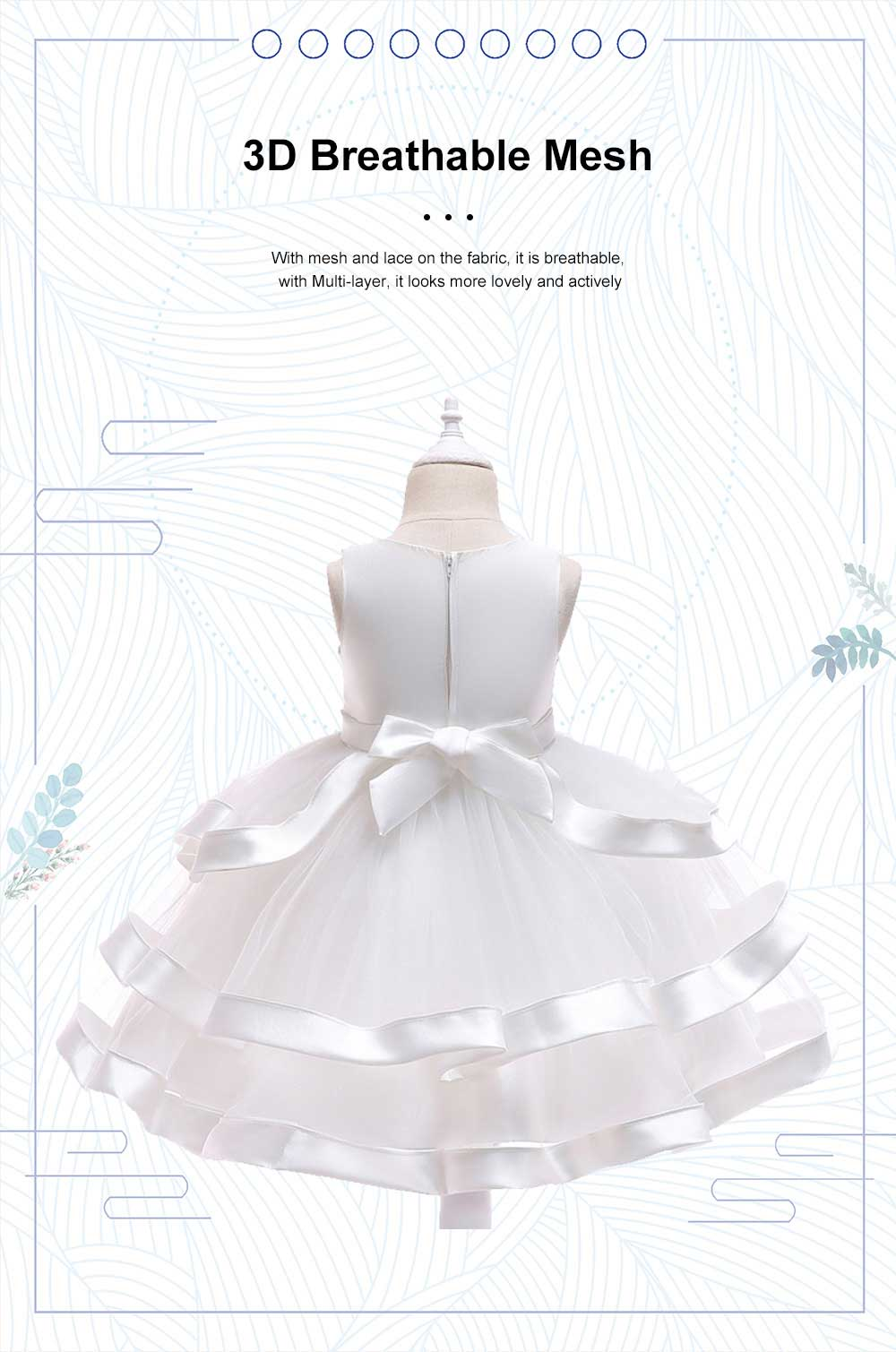 Female Flower Skirts Kids Girls Flower Wedding Dress, Multi-layer Mesh Gauze skirt, Multi-layered Show Dress Party Suit 3