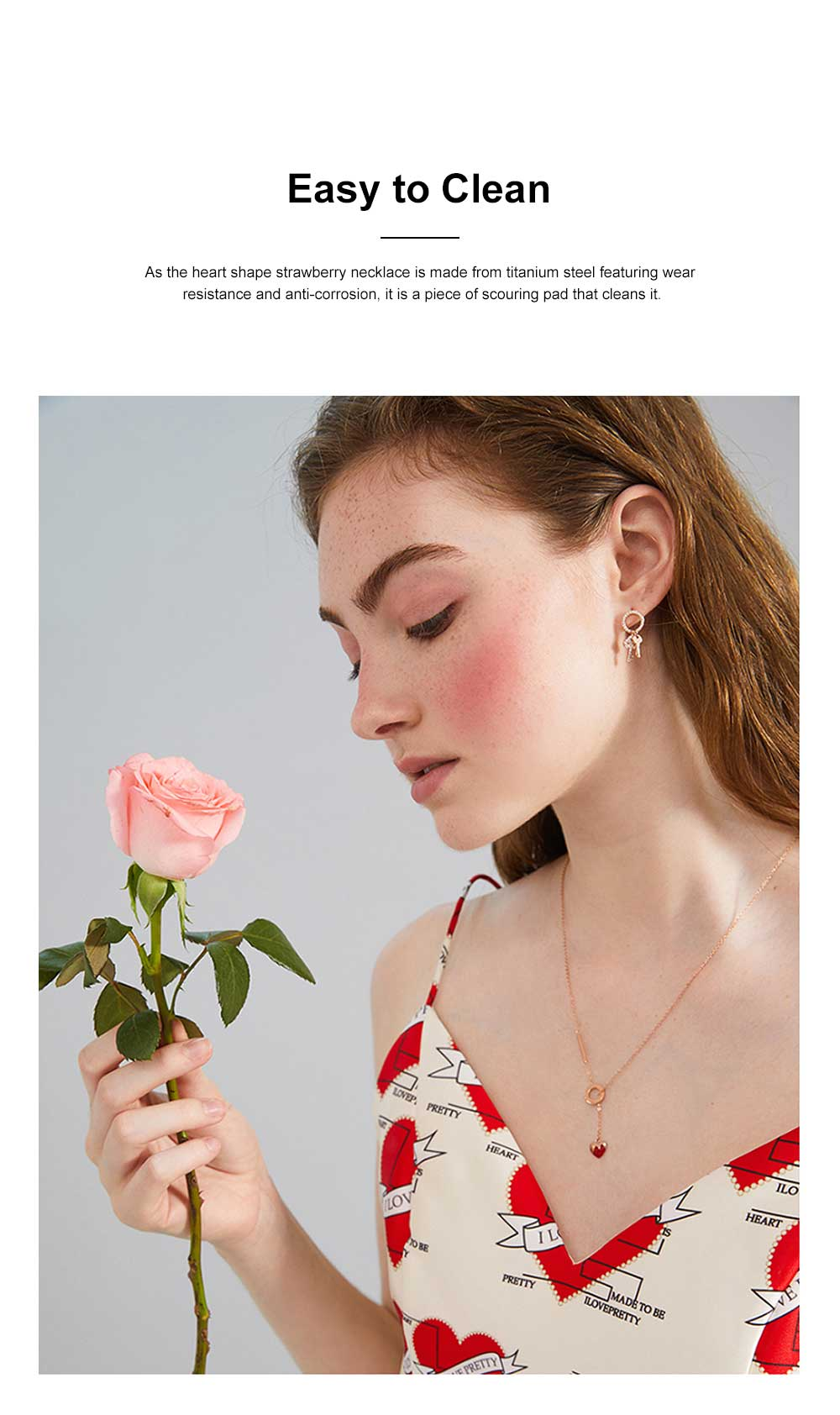 Heart Shape Strawberry Necklace Wear Resistant Lustrous Titanium Steel Clavicle Necklace Stainless Steel Jewelry Online Bestseller Minority Design Necklace 2