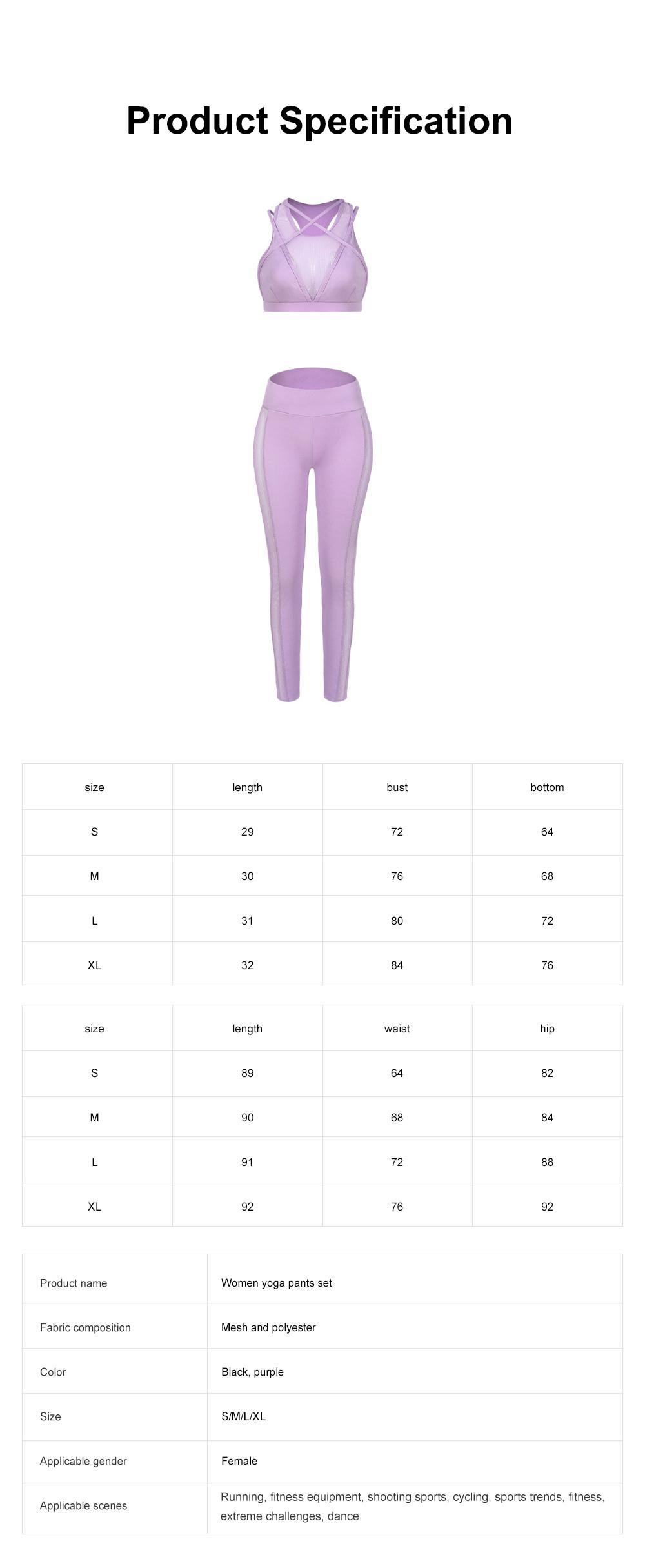 Fashion Sexy Women Two Piece Sport Bra Pants Yoga Fitness Hip Pants Set Cross Straps Hollow Matching Mesh Lady Wear Set 6