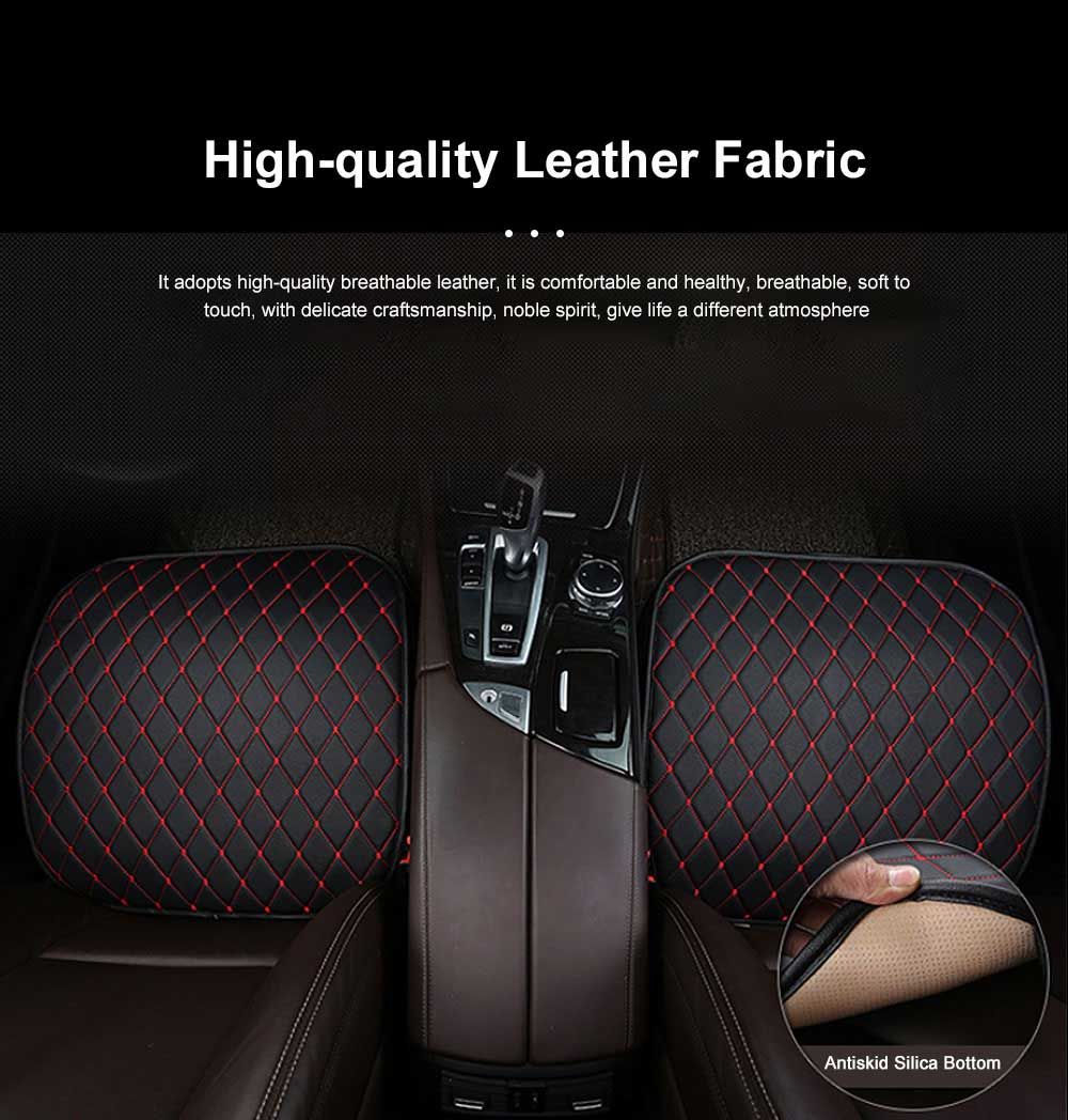 Tie-free Car Seat Cushion Four Seasons Universal Without Backrest Three-piece Black And Red Line Diamond-Shaped Sewing Sewn Single Cushion Cover 2