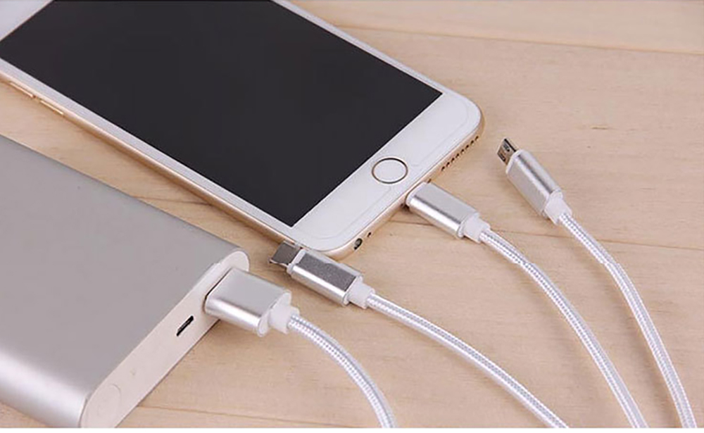 Tinkleo 3 in 1 Multifunctional Nylon Braided 2A Charger Cable 100cm for Android Type C USB 5