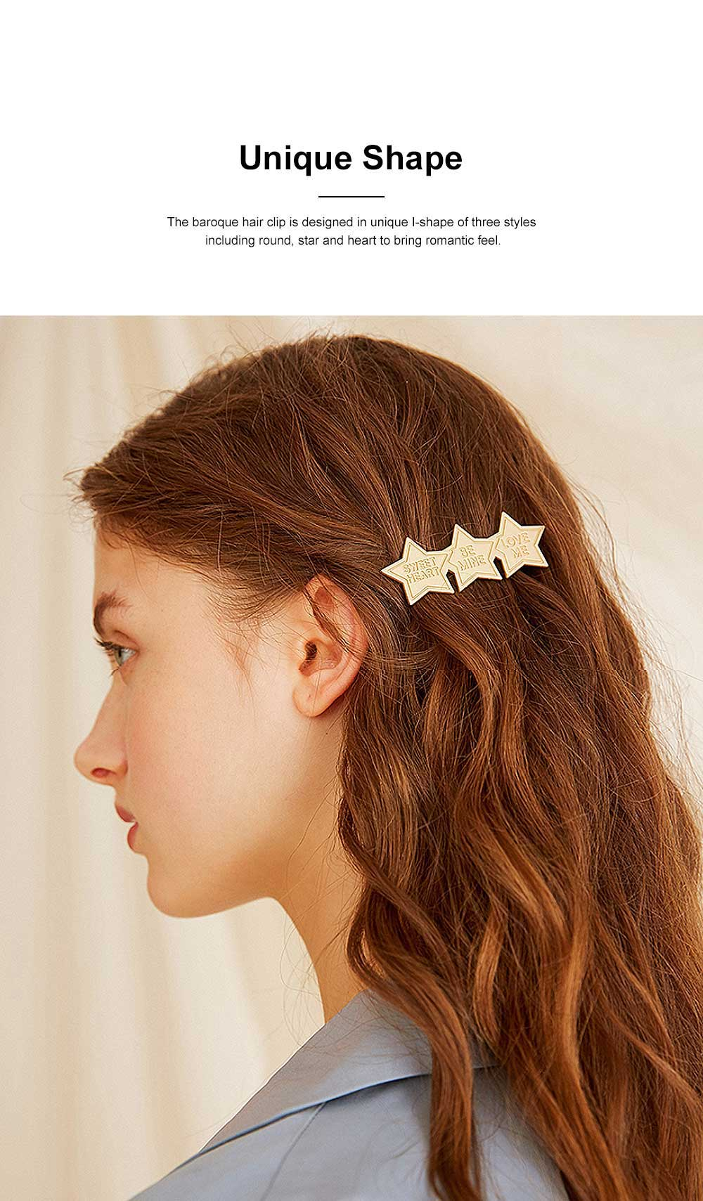 Baroque Hair Clip for Girls Gold-plated Alloy Bobby Pin Baroque Hair Dresses Retro I-shape Hairpin Star-like Side Clip 1