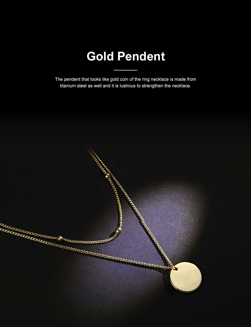 Fashionable Ring Necklace with Coin-like Pendent for Girls Simple Double Water Wave Clavicle Amulet Necklace Jewelry All-match Necklace 7
