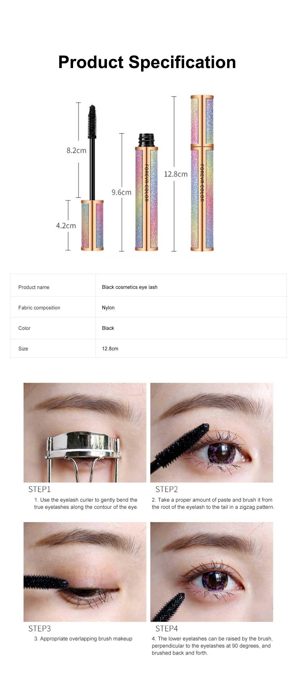 Makeup Cosmetics Eye Lash Black Waterproof Lasting Quick Dry Long And Curl Anti-sweat Easy Remove Fiber Mascara 6