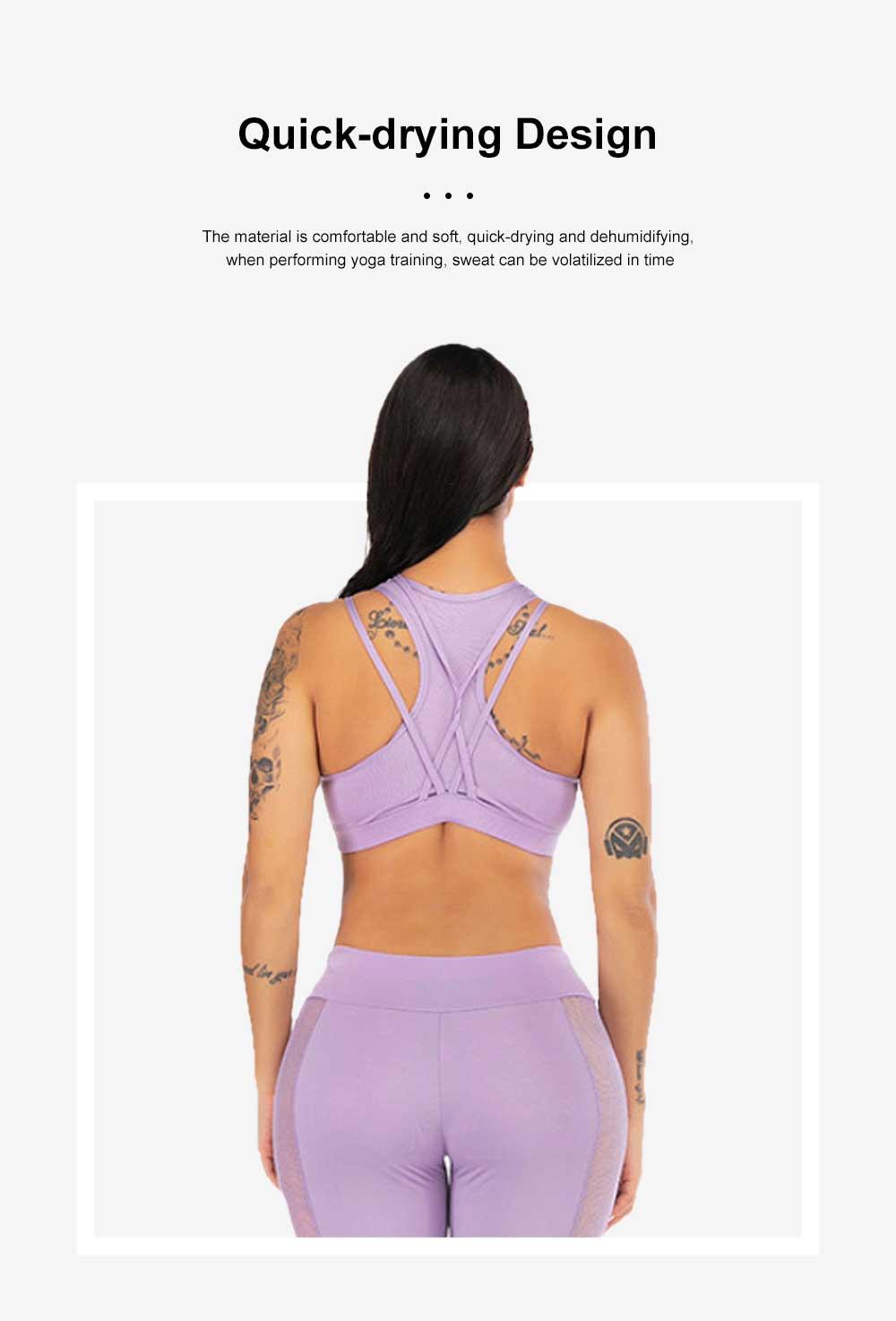 Fashion Sexy Women Two Piece Sport Bra Pants Yoga Fitness Hip Pants Set Cross Straps Hollow Matching Mesh Lady Wear Set 3
