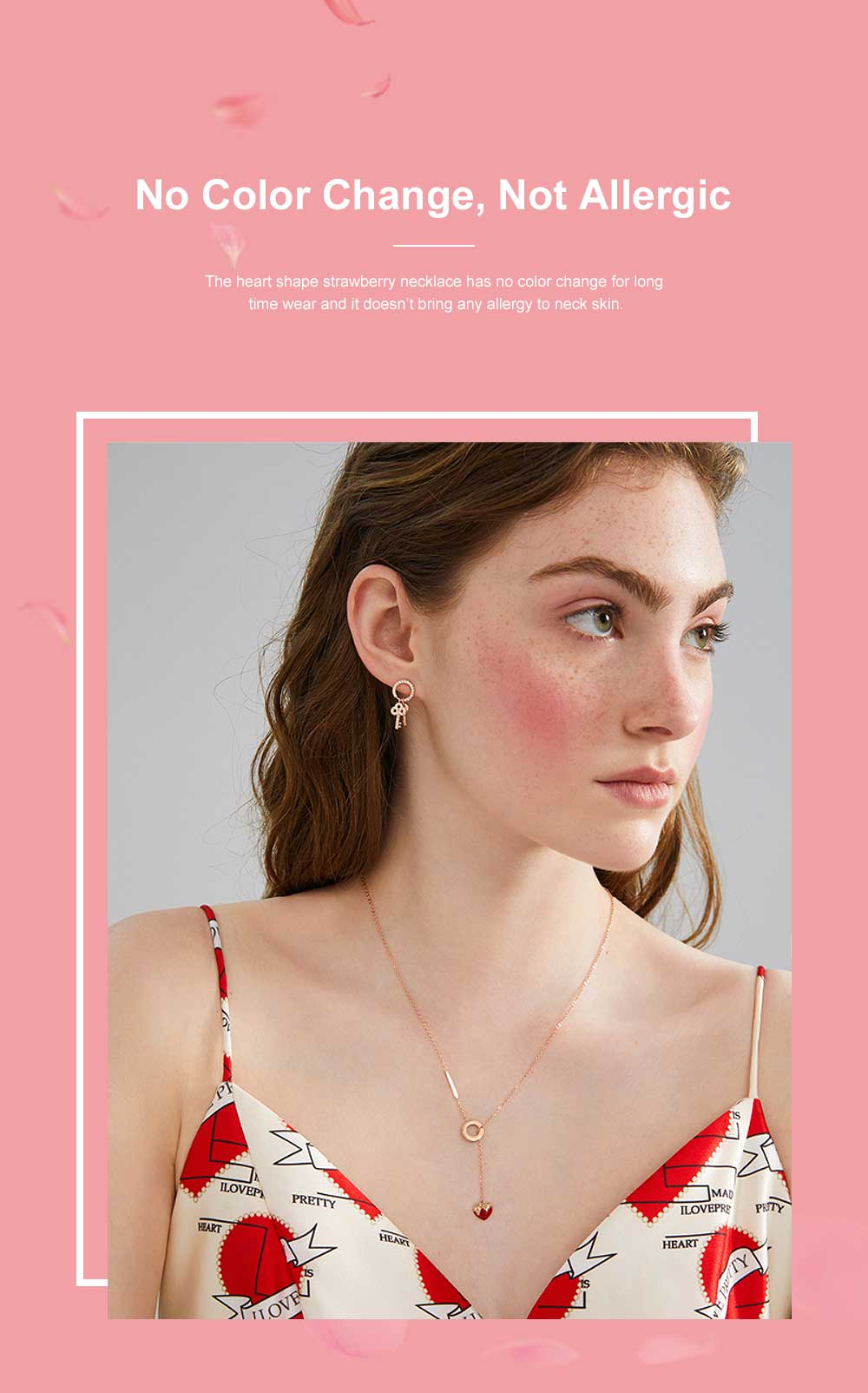 Heart Shape Strawberry Necklace Wear Resistant Lustrous Titanium Steel Clavicle Necklace Stainless Steel Jewelry Online Bestseller Minority Design Necklace 1
