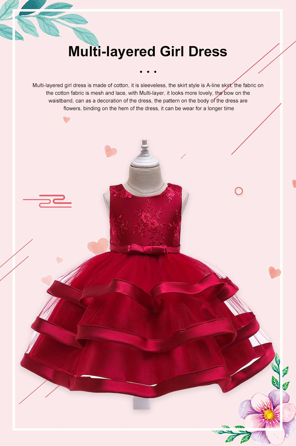 Female Flower Skirts Kids Girls Flower Wedding Dress, Multi-layer Mesh Gauze skirt, Multi-layered Show Dress Party Suit 0
