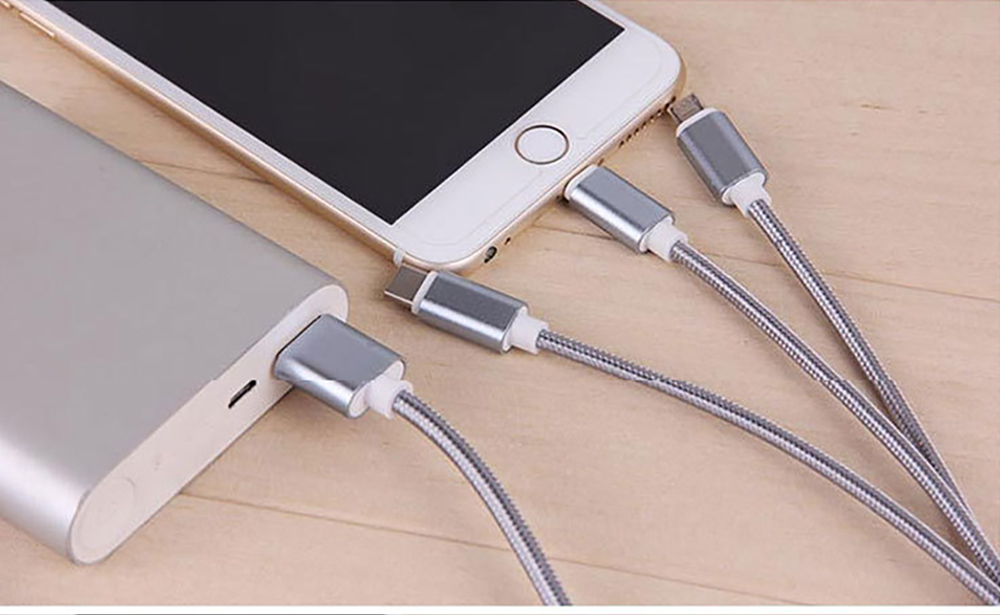 Tinkleo 3 in 1 Multifunctional Nylon Braided 2A Charger Cable 100cm for Android Type C USB 4