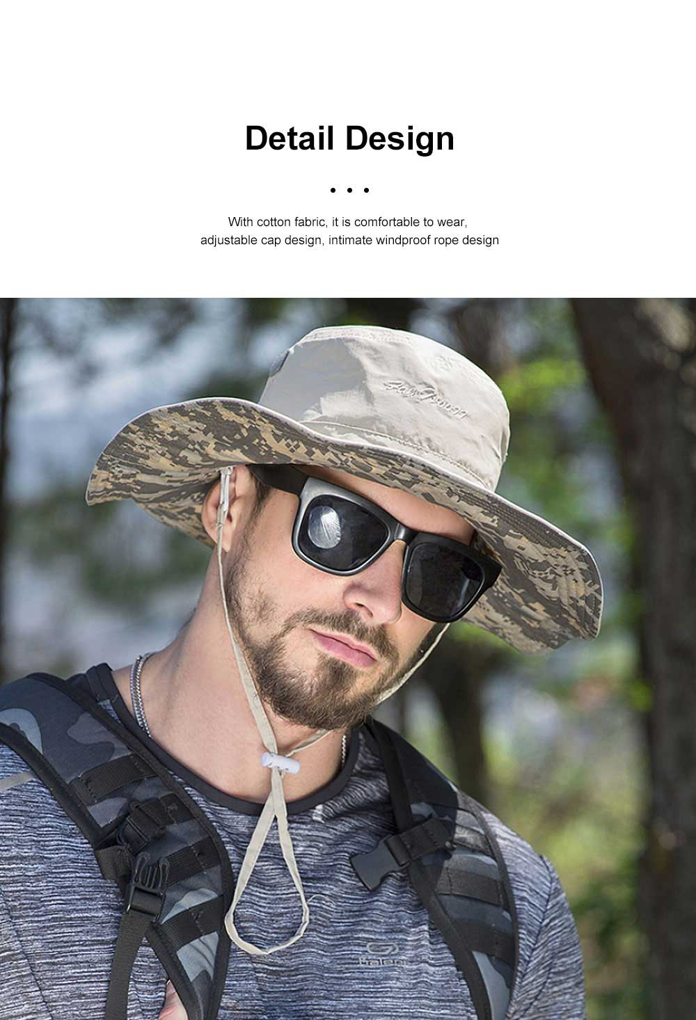 Male Sun Hat Sunscreen Summer Travel Seaside Big Edge Leisure Folding Windproof Sunshade Riding Mountaineering Hat 3