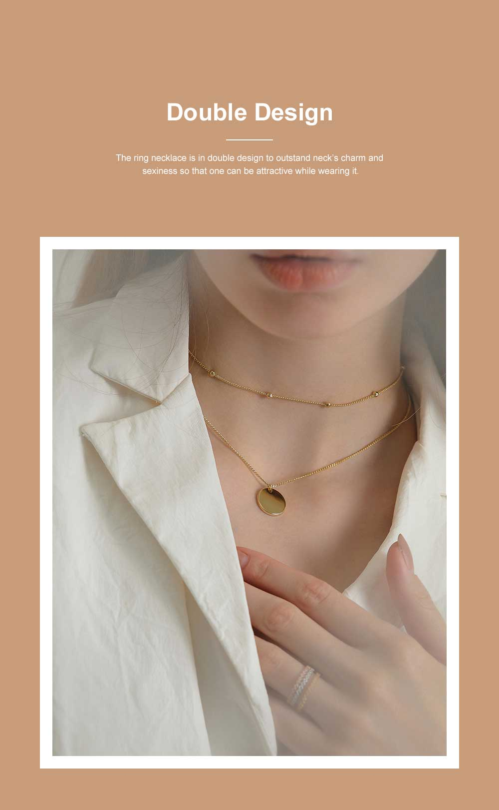 Fashionable Ring Necklace with Coin-like Pendent for Girls Simple Double Water Wave Clavicle Amulet Necklace Jewelry All-match Necklace 2
