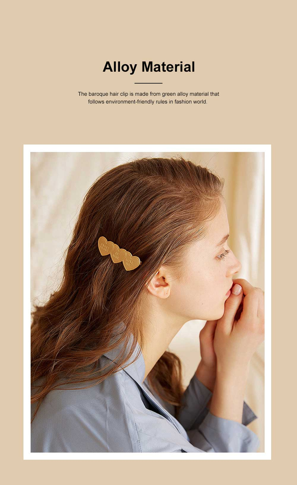 Baroque Hair Clip for Girls Gold-plated Alloy Bobby Pin Baroque Hair Dresses Retro I-shape Hairpin Star-like Side Clip 3