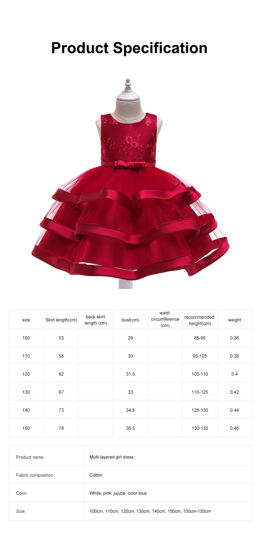 Female Flower Skirts Kids Girls Flower Wedding Dress, Multi-layer Mesh Gauze skirt, Multi-layered Show Dress Party Suit 6